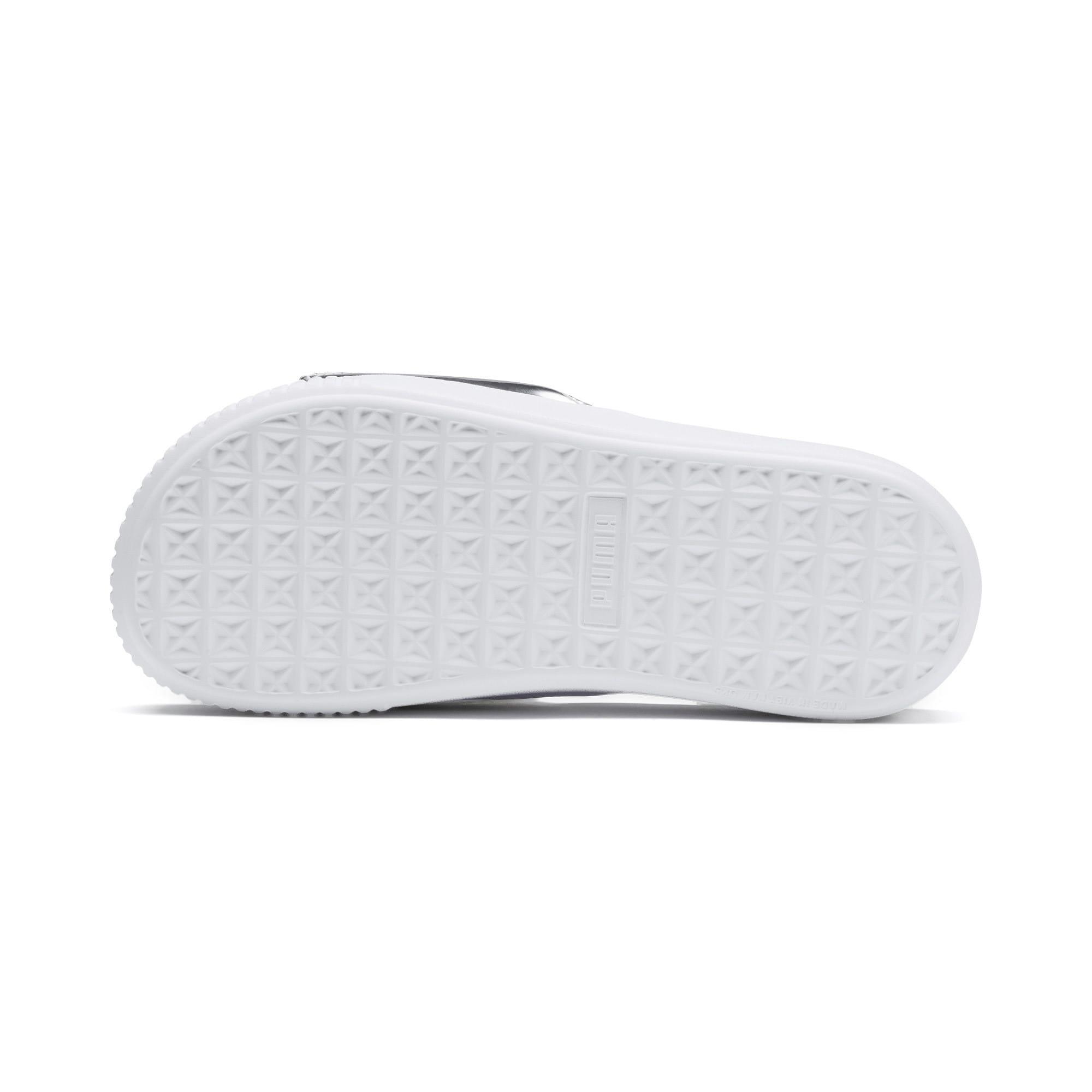 Thumbnail 4 of Platform Slide Trailblazer Metallic Women's Sandals, Puma White-Puma Silver, medium