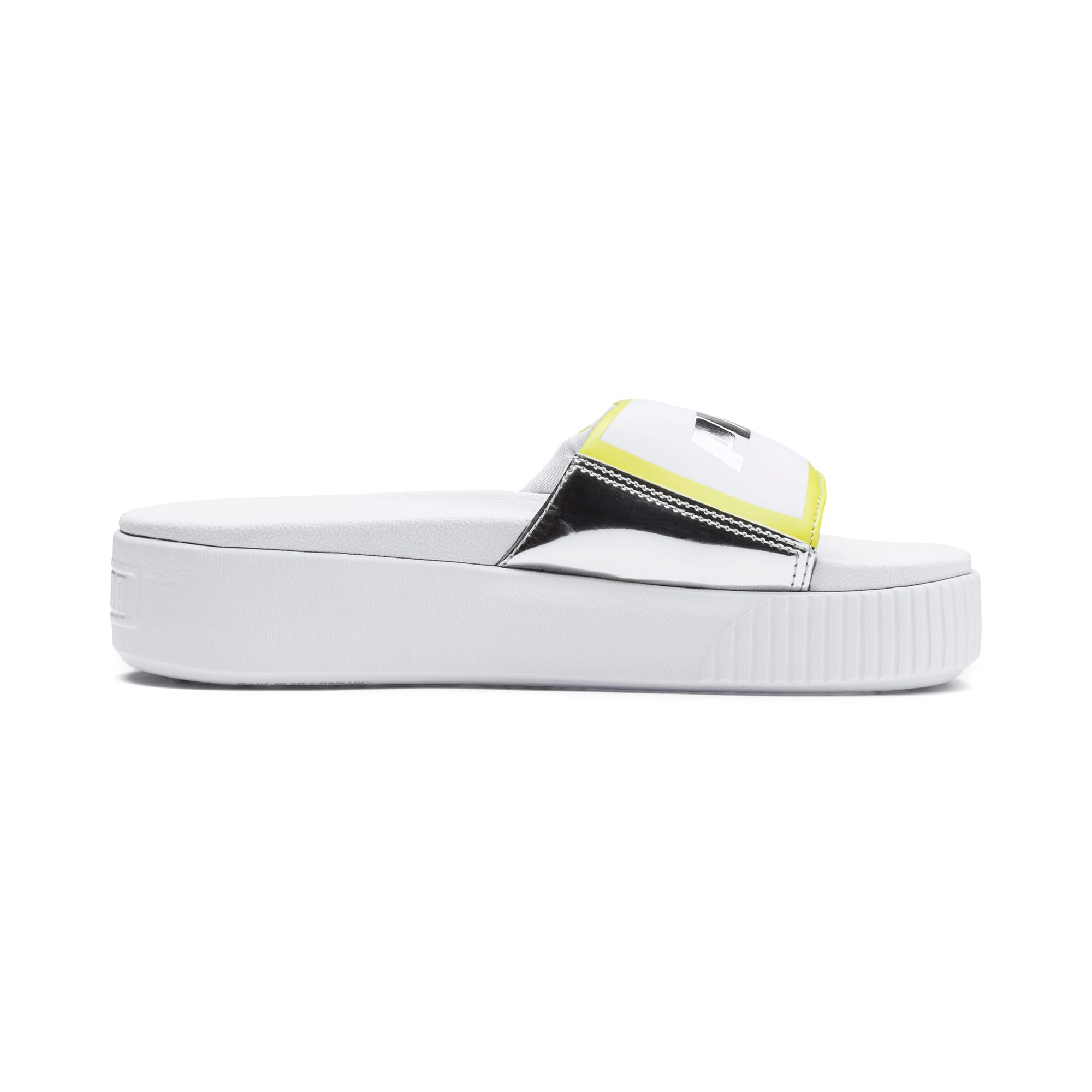 Thumbnail 5 of Platform Slide Trailblazer Metallic Women's Sandals, Puma White-Puma Silver, medium