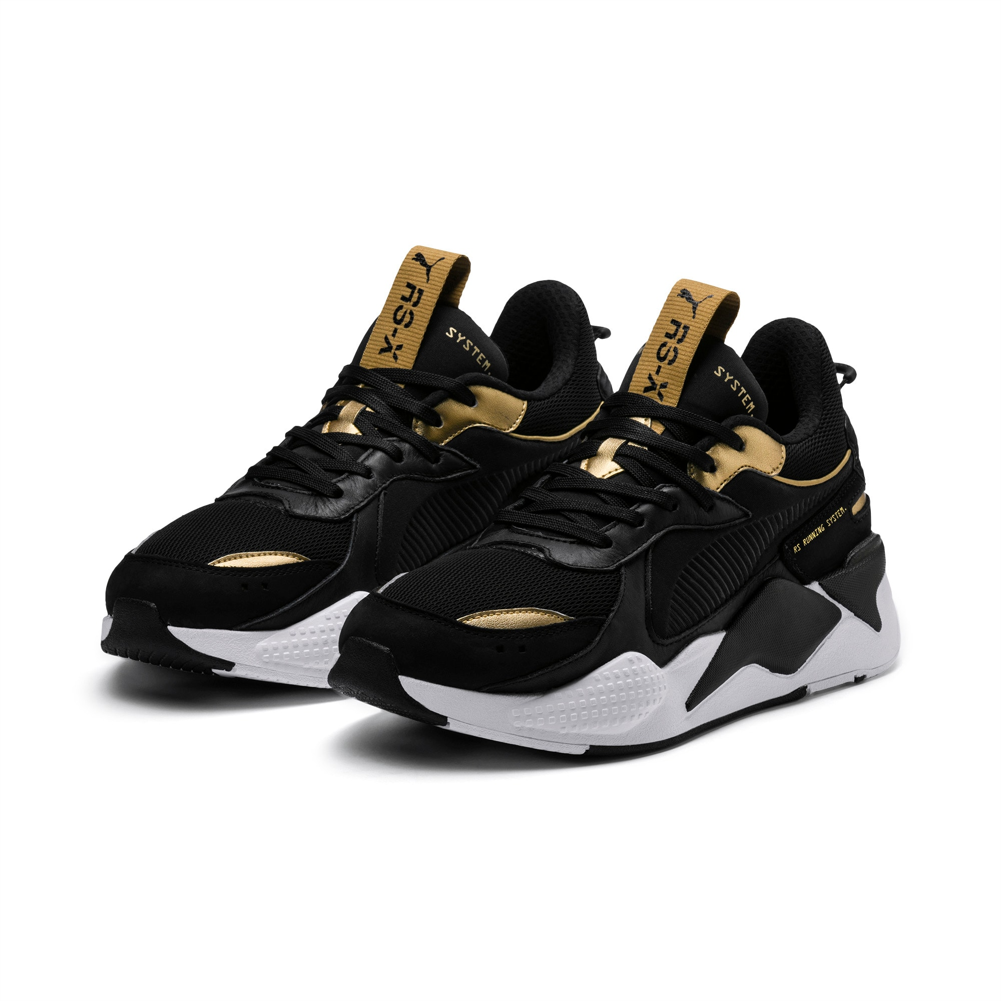 puma black and gold shoes