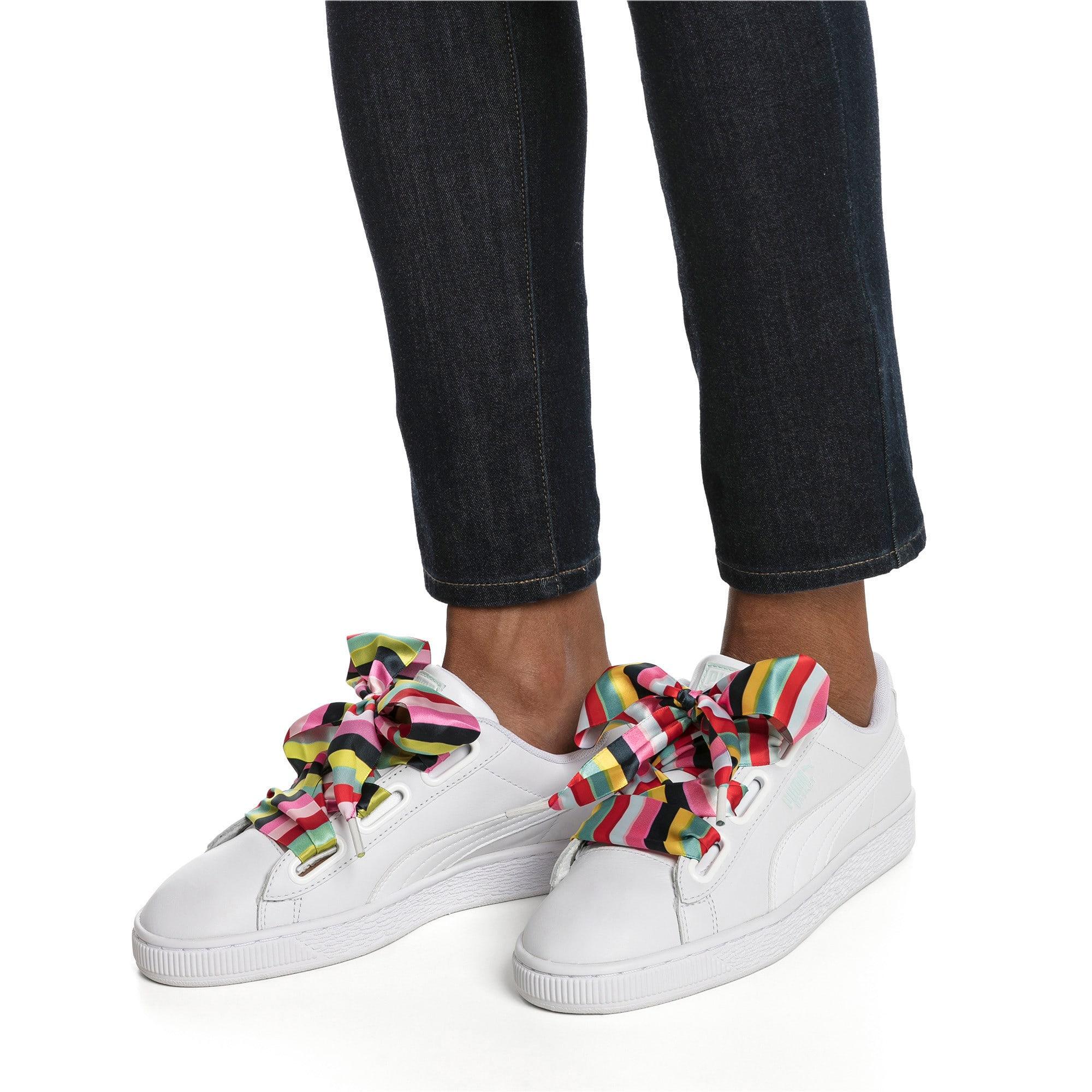 Thumbnail 2 of Basket Heart Gen Hustle Women's Sneakers, Puma White-Fair Aqua, medium-IND