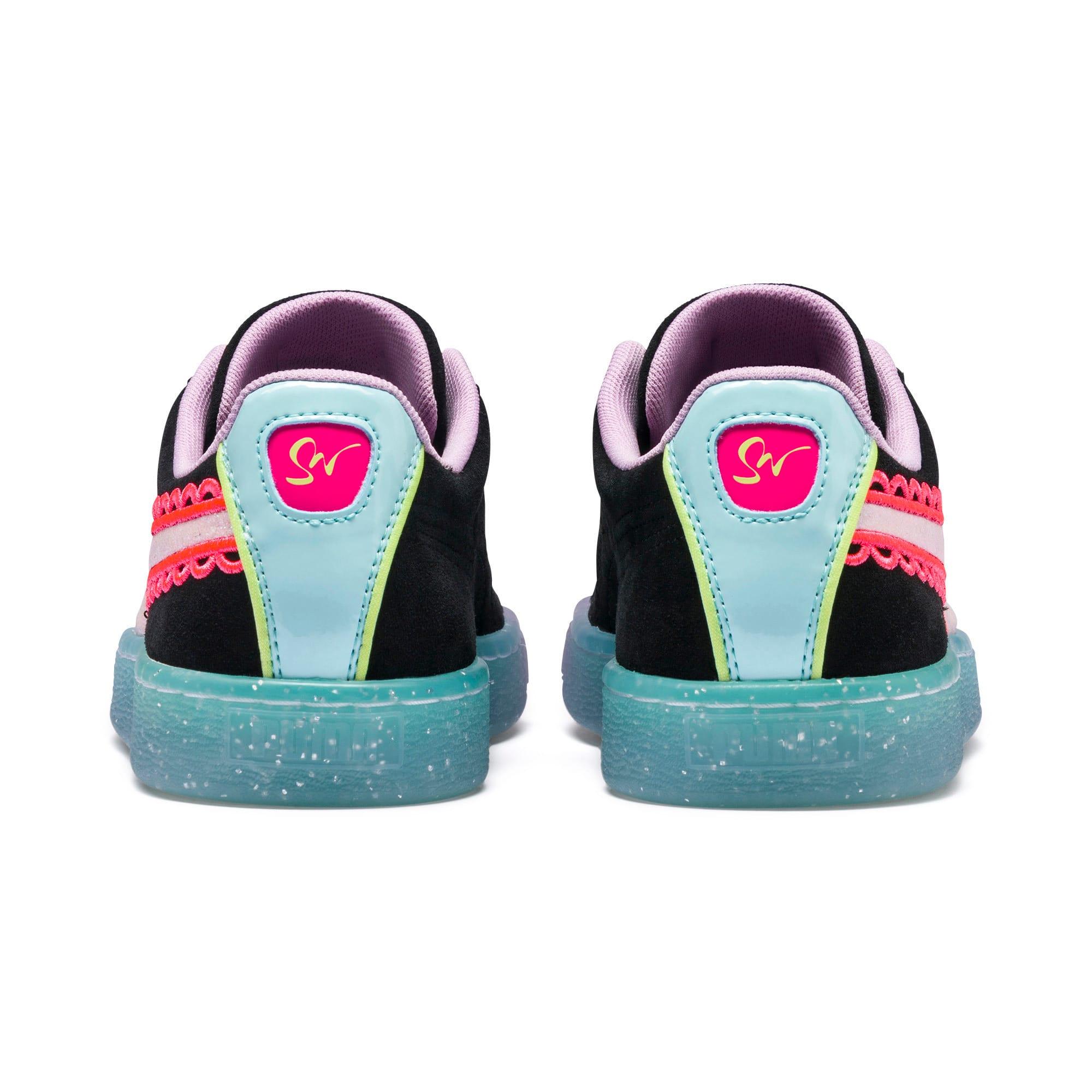 Miniatura 4 de Zapatos deportivosPUMA x SOPHIA WEBSTER Suede para mujer, Puma Black-Fiery Coral, mediano