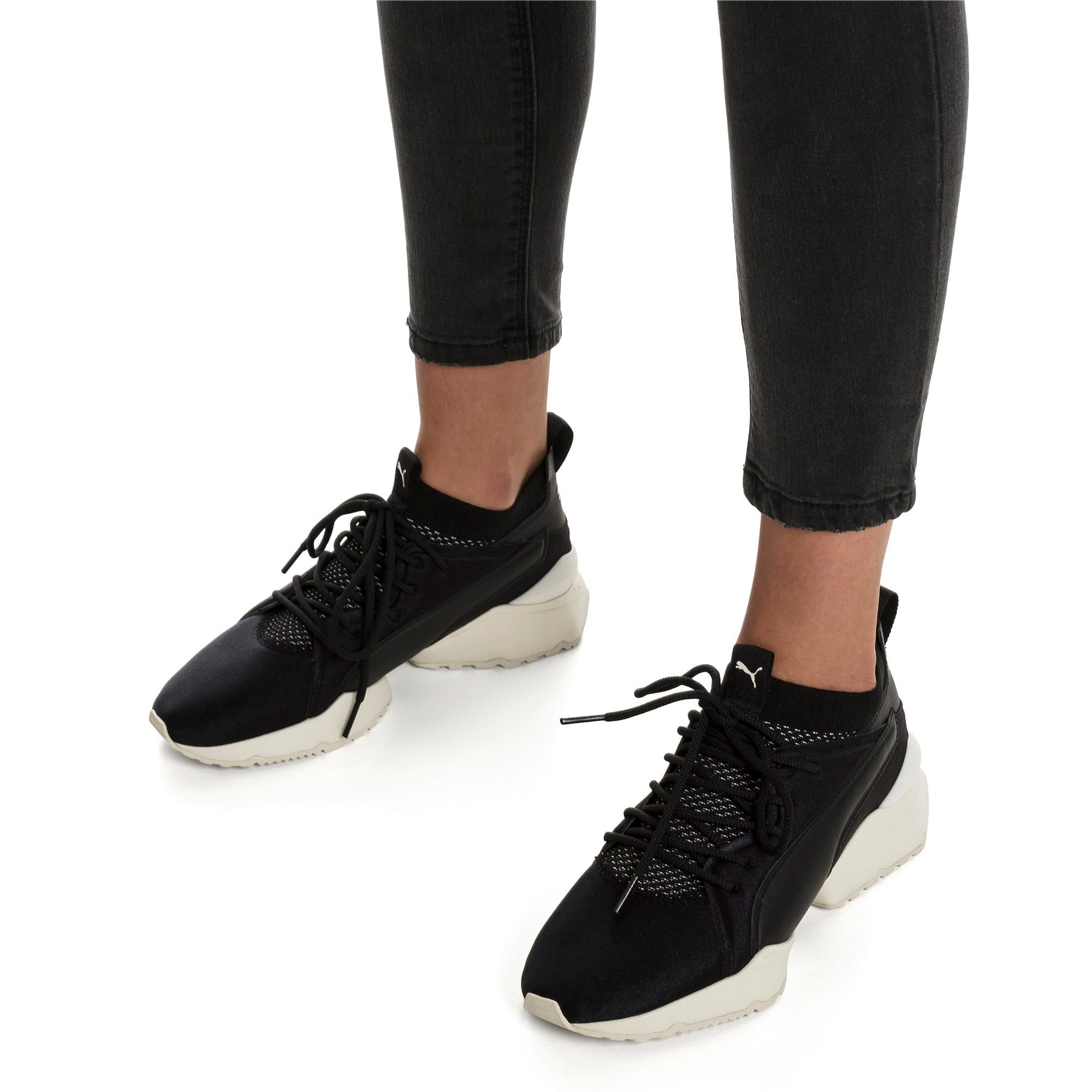 Thumbnail 2 of Muse Maia Knit Premium Damen Sneaker, Puma Black-Whisper White, medium
