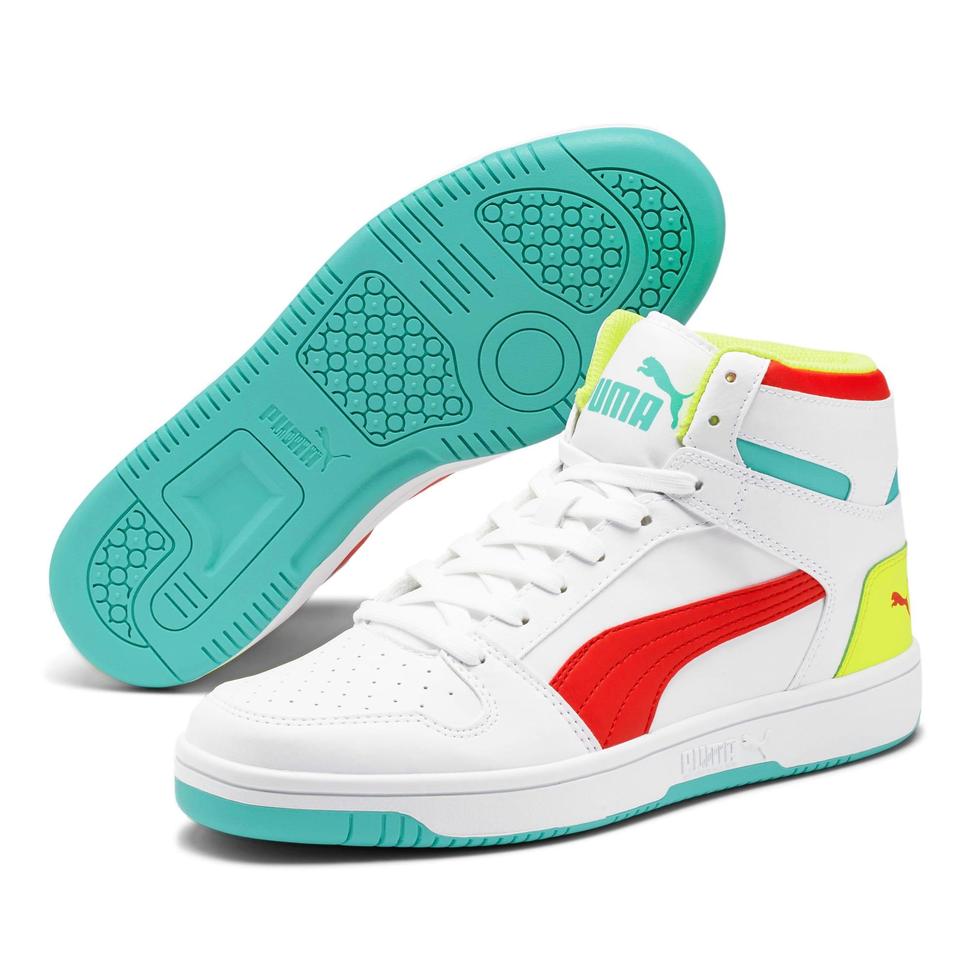 Thumbnail 2 of PUMA Rebound LayUp Sneakers, White-Red-Blue T-Yellow A, medium