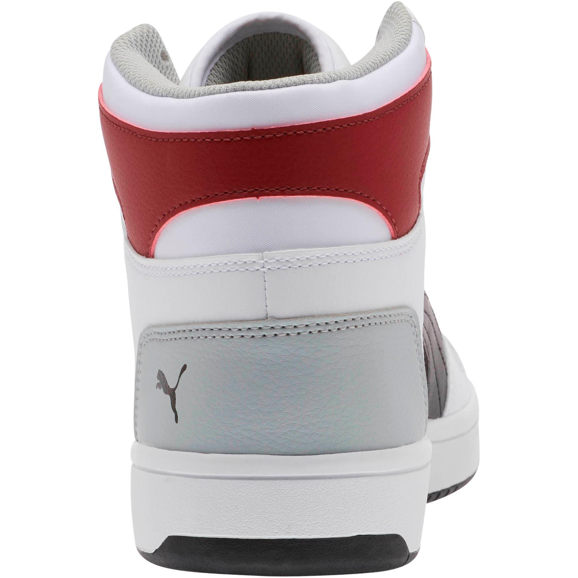 Thumbnail 3 of PUMA Rebound LayUp Sneakers, White-Black-Rhubarb-HighRise, medium