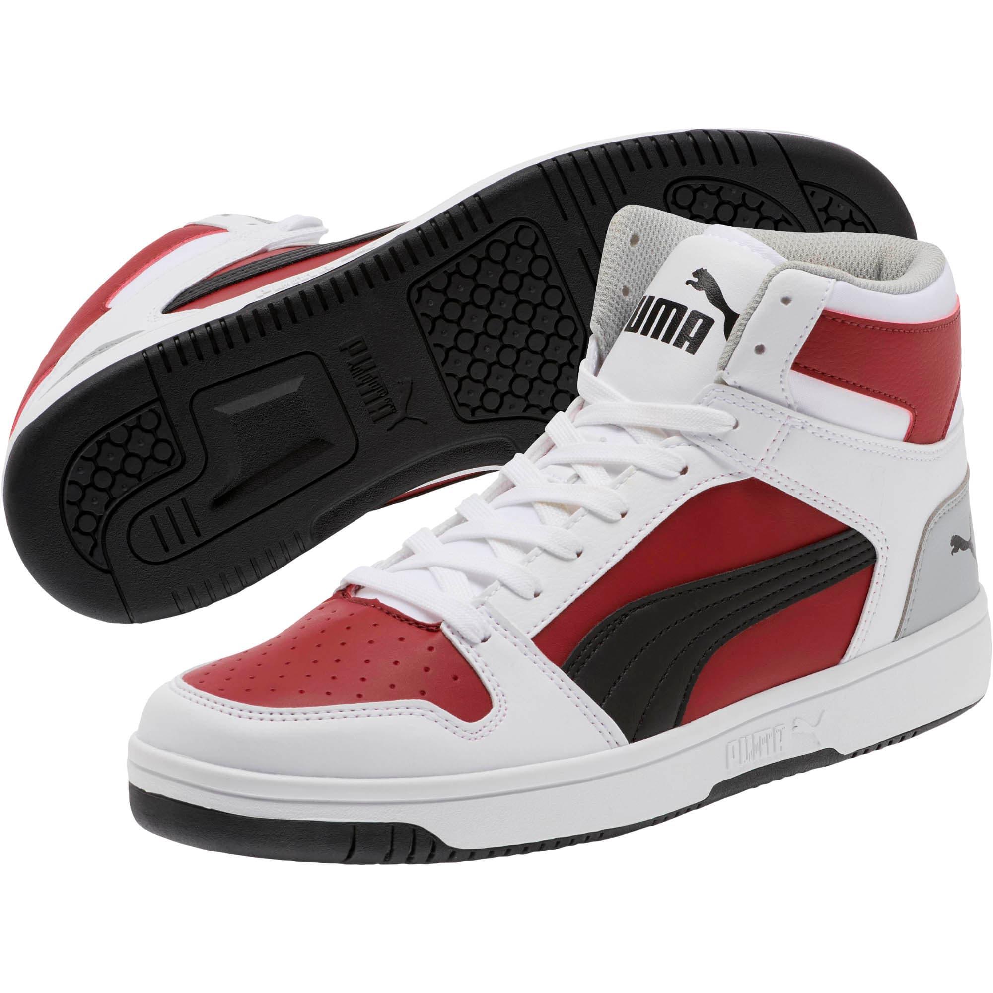 Thumbnail 2 of PUMA Rebound LayUp Sneakers, White-Black-Rhubarb-HighRise, medium