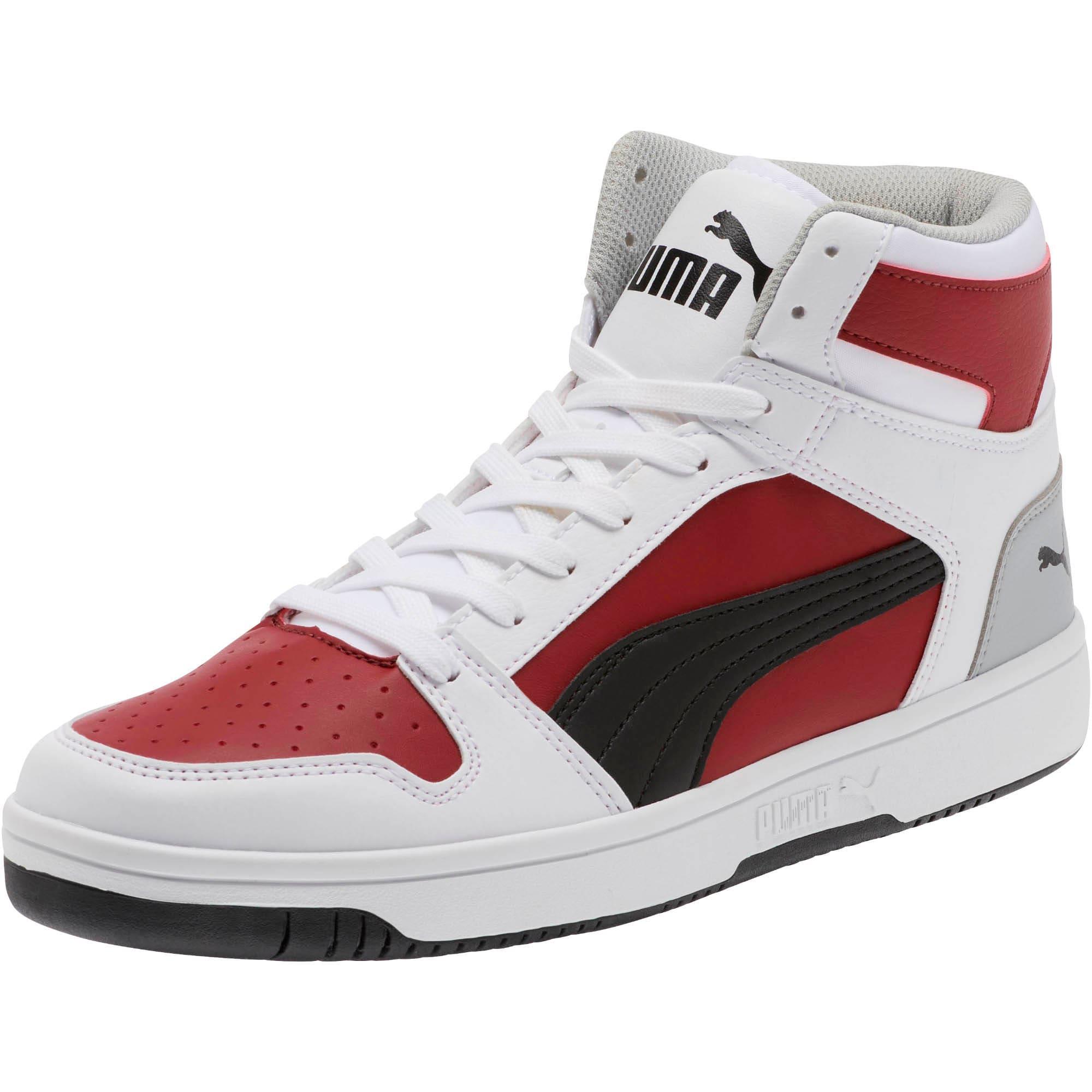 Thumbnail 1 of PUMA Rebound LayUp Sneakers, White-Black-Rhubarb-HighRise, medium