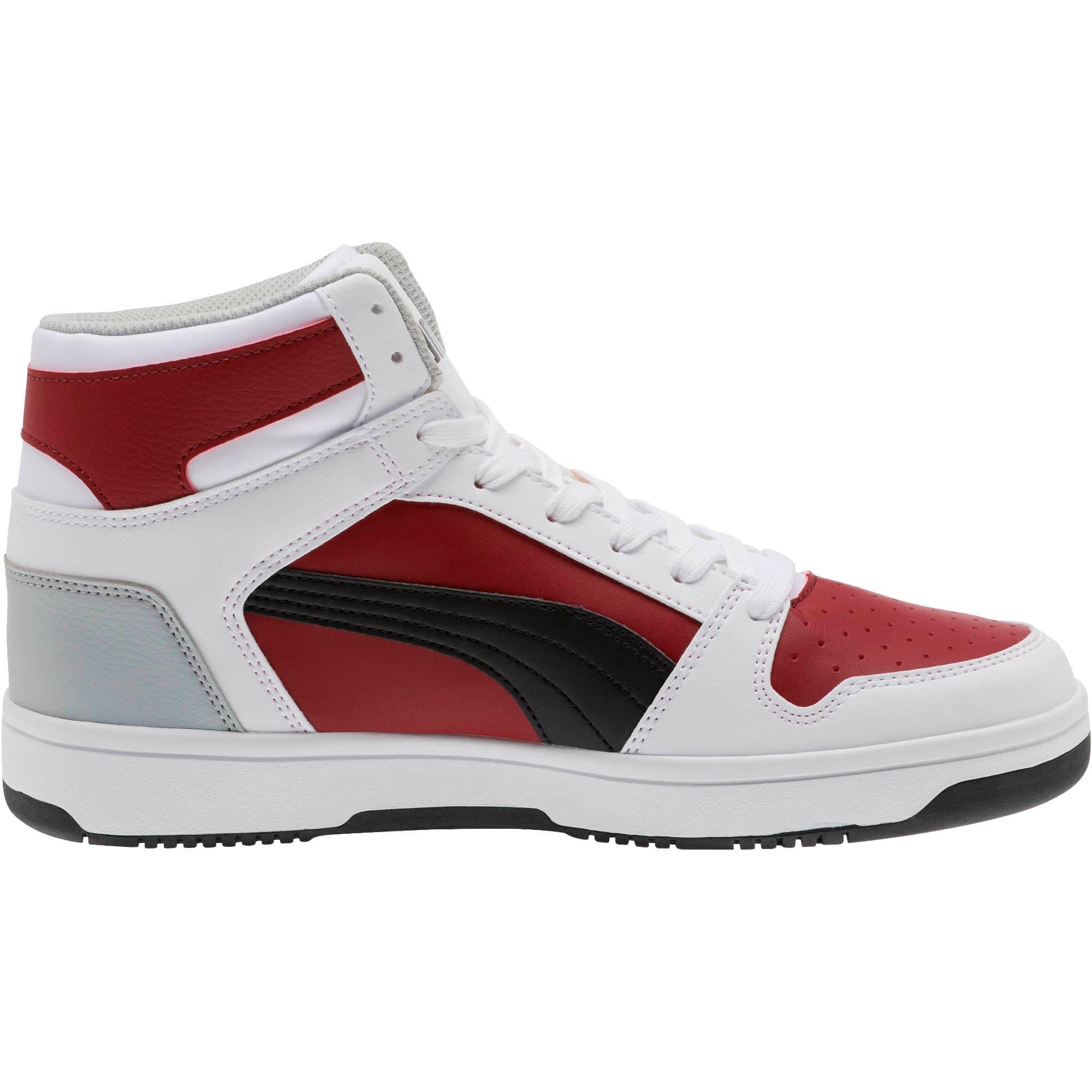 Thumbnail 4 of PUMA Rebound LayUp Sneakers, White-Black-Rhubarb-HighRise, medium