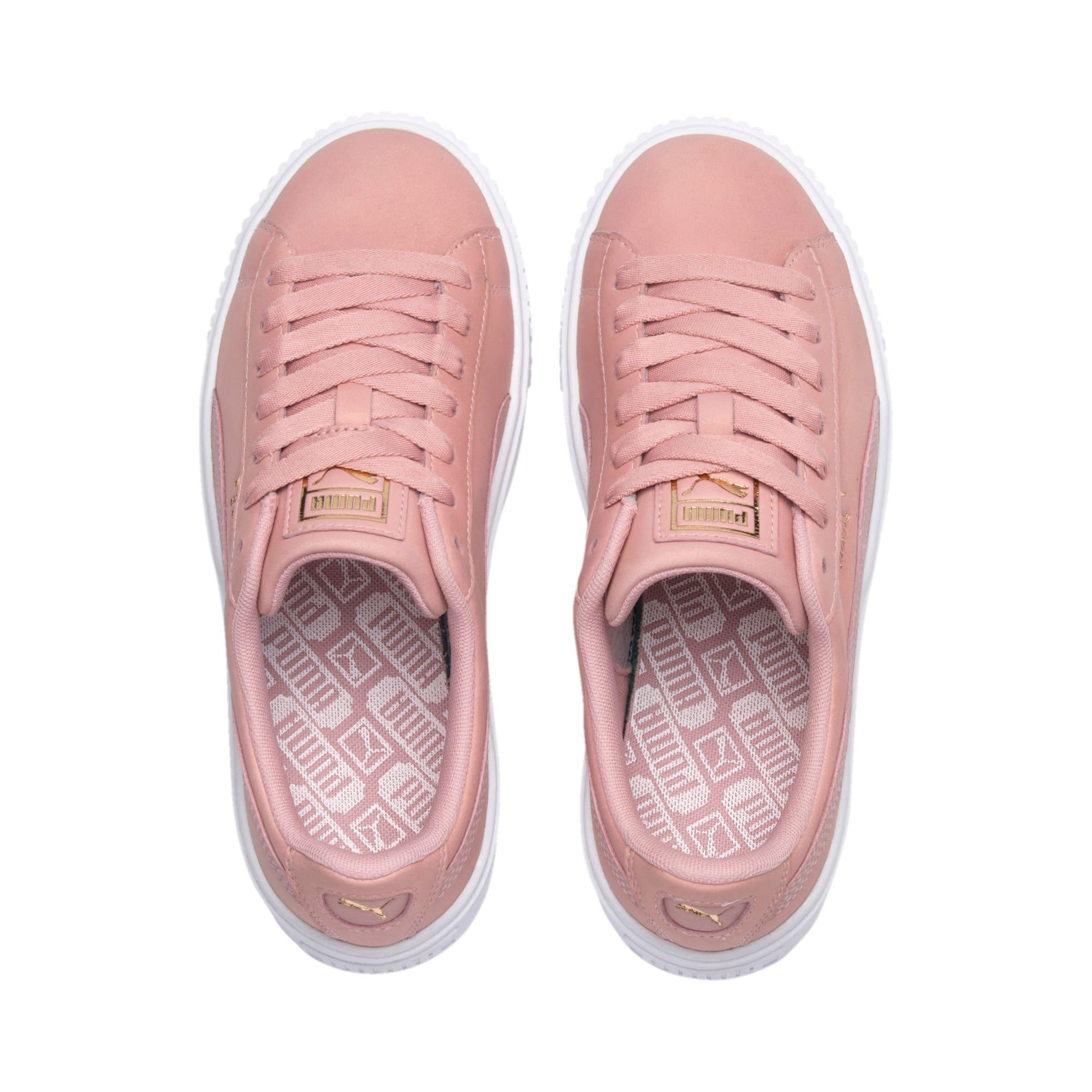 Miniatura 7 de Zapatos deportivos Suede con brillo y plataforma para mujer, Bridal Rose-Puma White, mediano