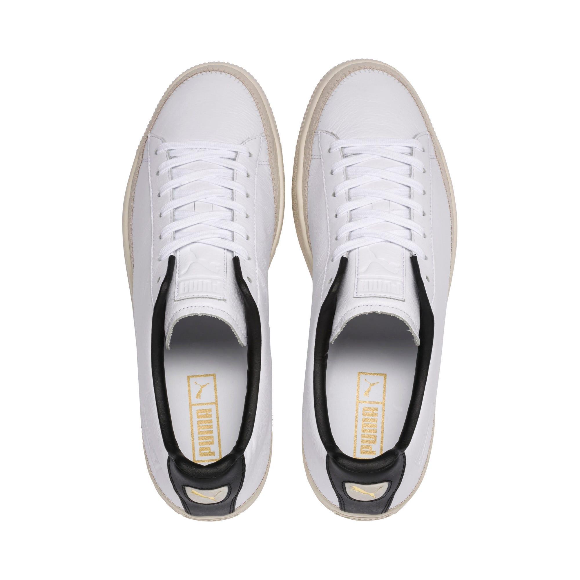 Thumbnail 6 of Basket Trim Shoes, Puma White-Whisper W-Black, medium-IND