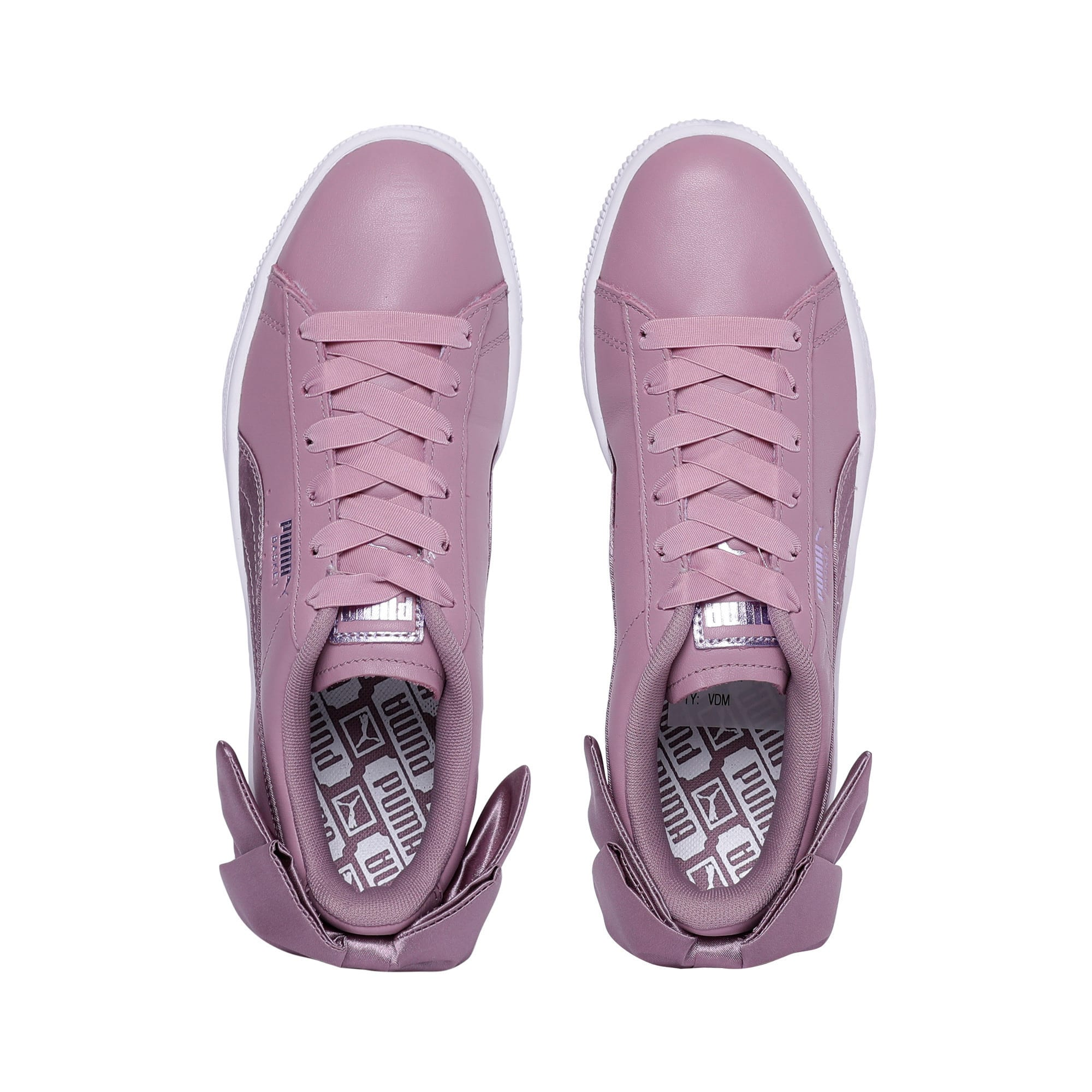 Thumbnail 6 of Basket Women's Bow Satin Sneakers, Elderberry-Puma White, medium-IND