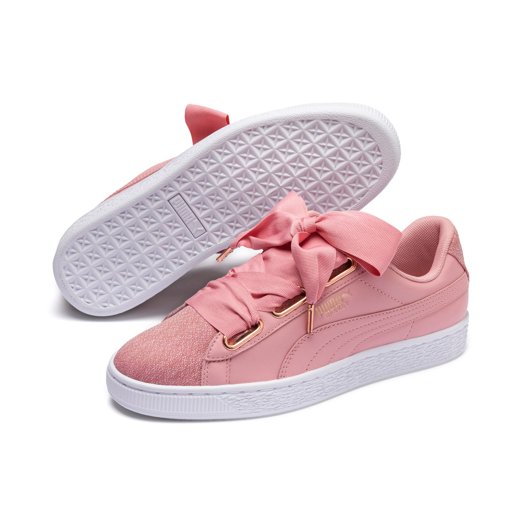 Basket Heart Woven Rose Women's Sneakers, Bridal Rose-Puma White, large