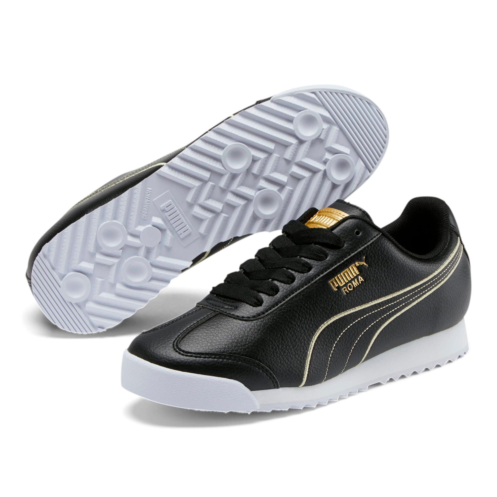 Thumbnail 2 of Roma Metallic Stitch Women's Sneakers, Puma Black-Puma Team Gold, medium