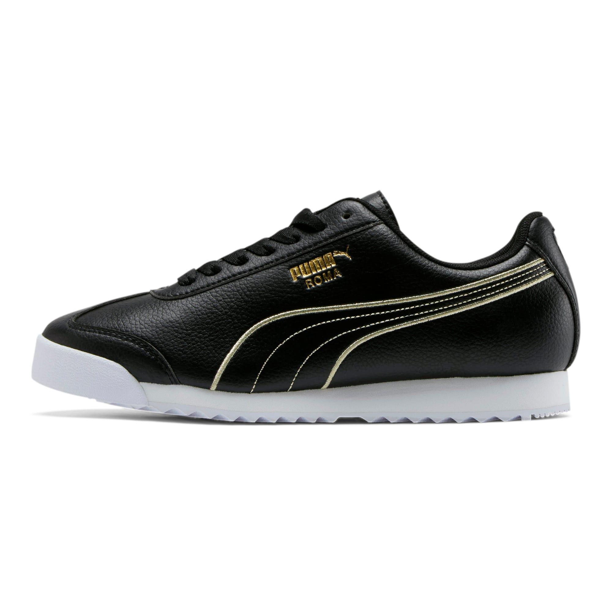 Thumbnail 1 of Roma Metallic Stitch Women's Sneakers, Puma Black-Puma Team Gold, medium