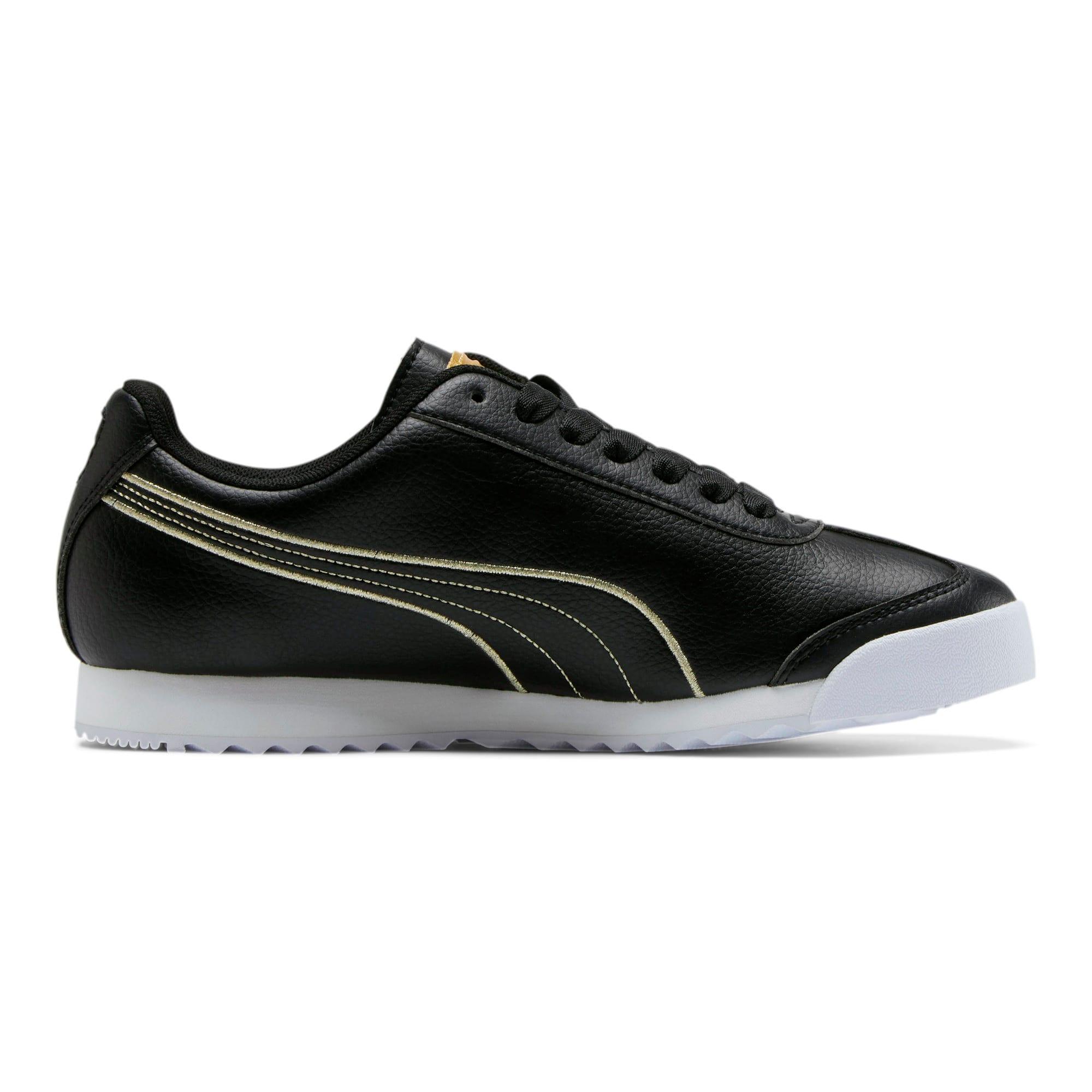 Thumbnail 5 of Roma Metallic Stitch Women's Sneakers, Puma Black-Puma Team Gold, medium