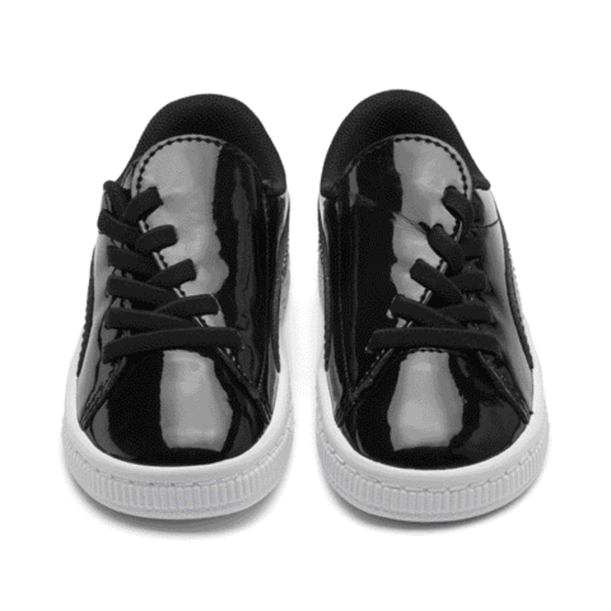 Thumbnail 2 of Basket Crush Patent AC Toddler Shoes, Puma Black-Puma White, medium