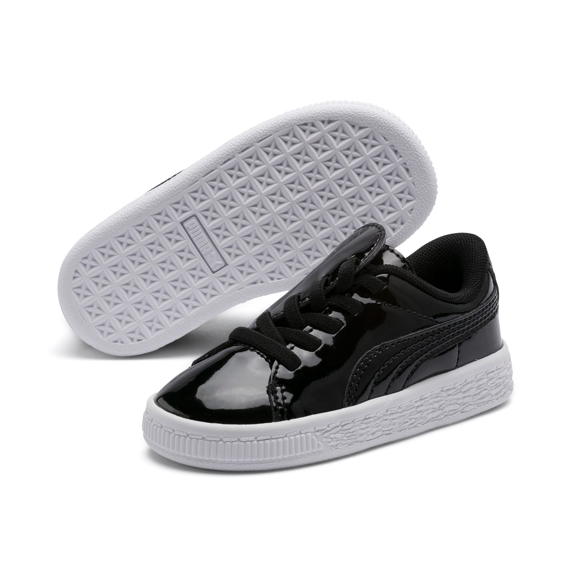 Thumbnail 1 of Basket Crush Patent AC Toddler Shoes, Puma Black-Puma White, medium