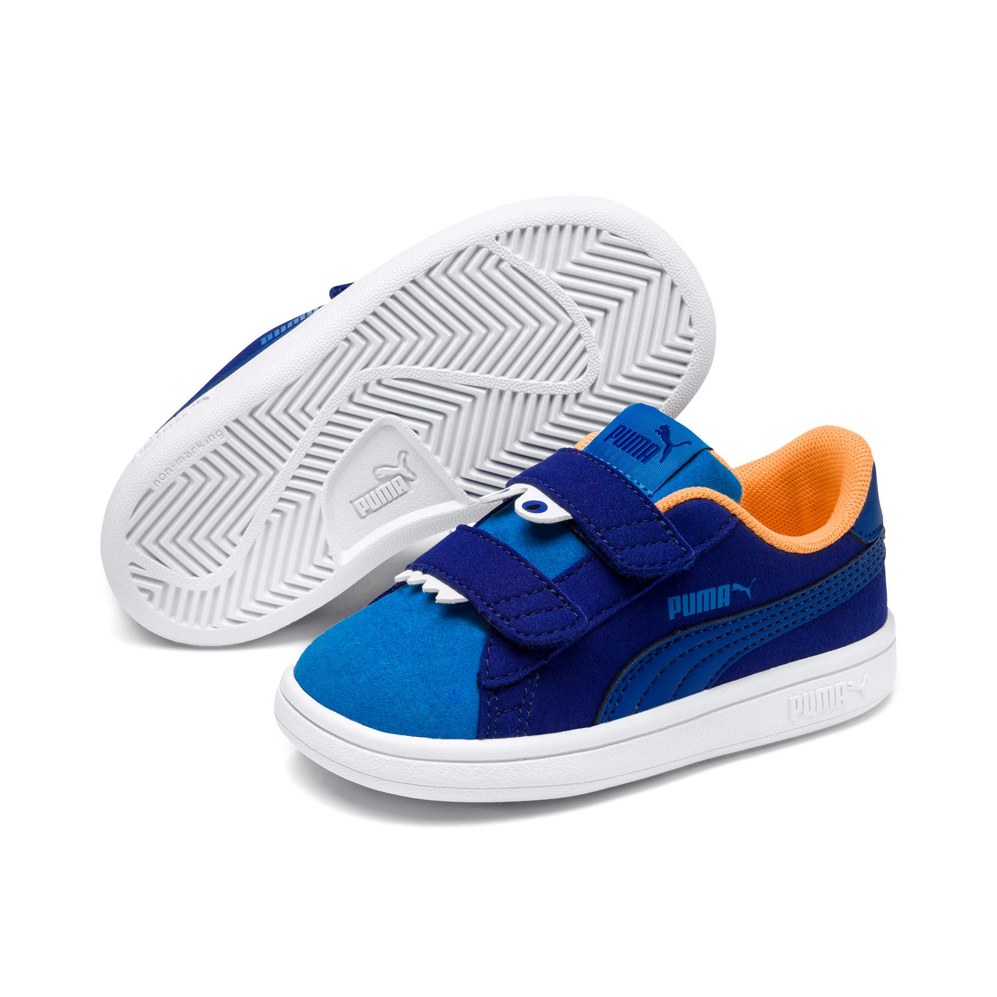 Thumbnail 2 of PUMA Smash v2 Monster Babies' Trainers, Sf Th Wb-I Bunting-Ornge-Wht, medium