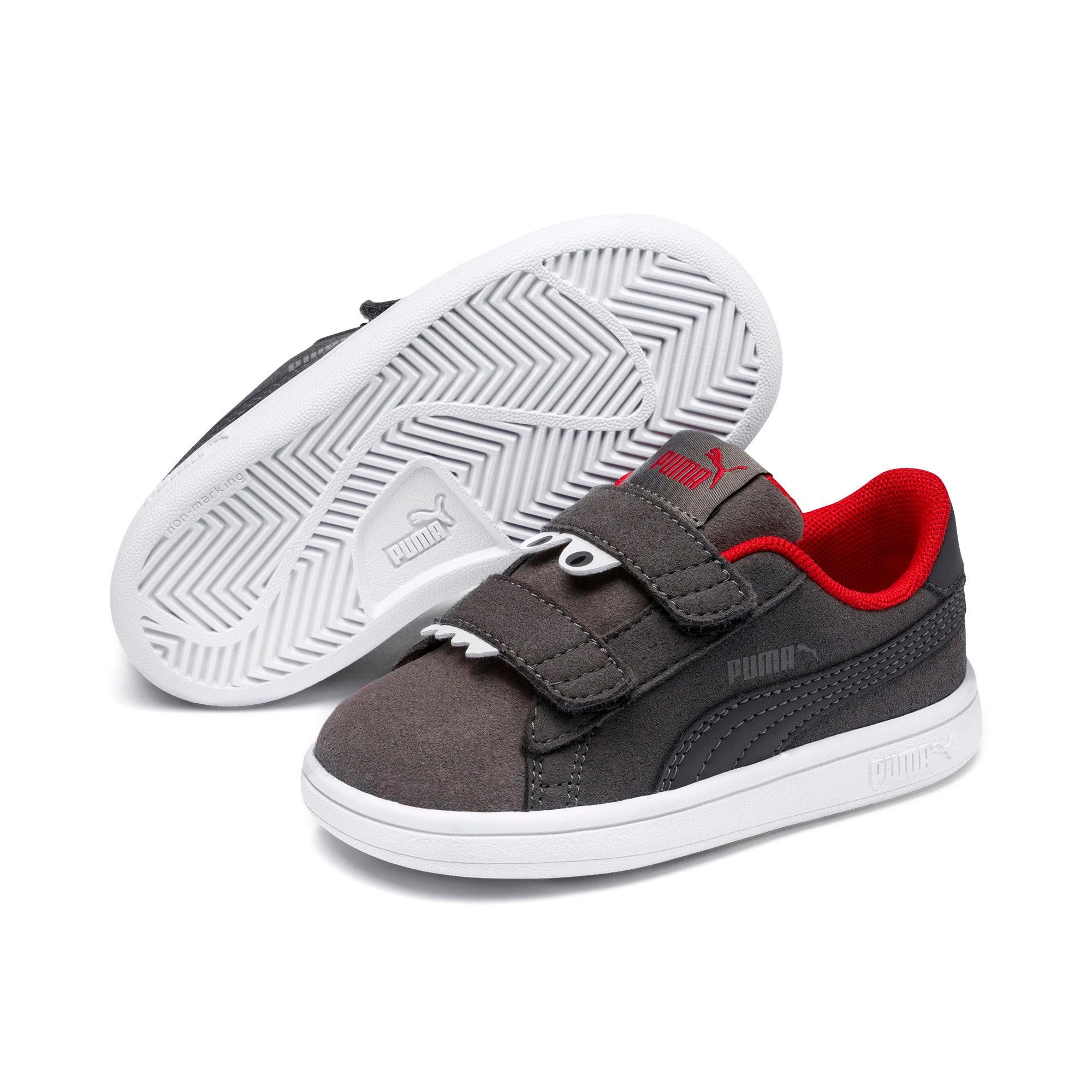 Thumbnail 2 of Smash v2 Monster Baby Sneaker, Asphalt-C. Gray-Red-White, medium