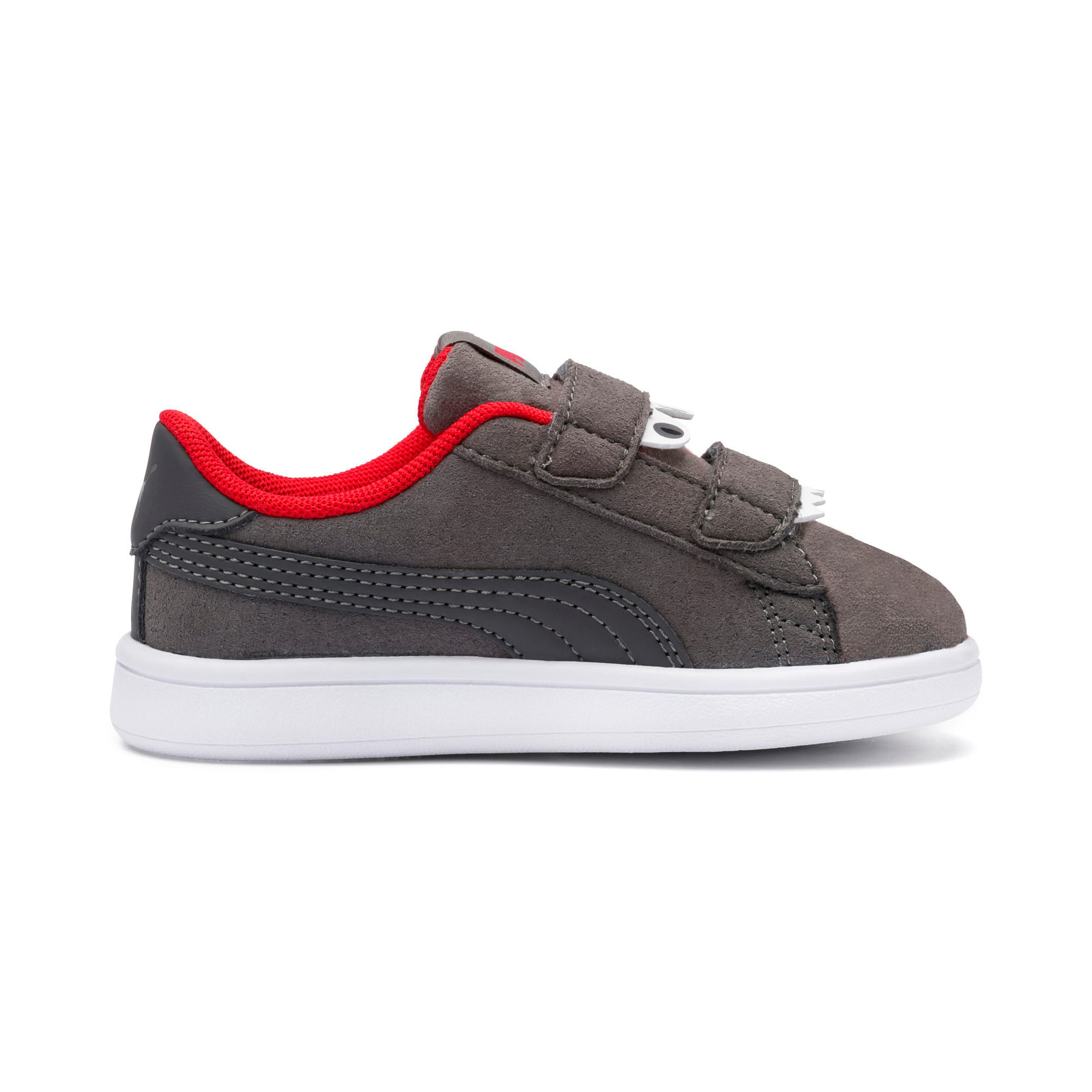 Thumbnail 5 of PUMA Smash v2 Monster Babies' Trainers, Asphalt-C. Gray-Red-White, medium