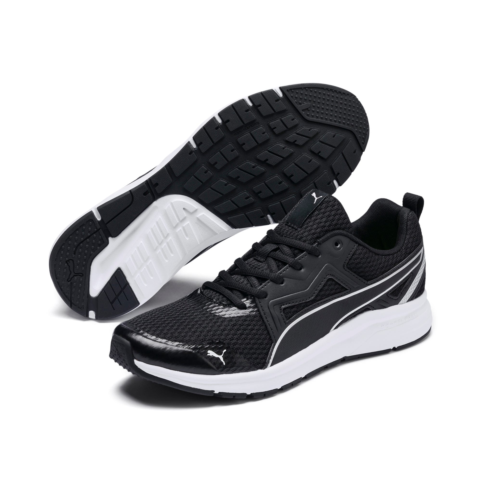 Thumbnail 4 of Pure Jogger Running Shoes, Black-Silver-White-Yellow, medium-IND