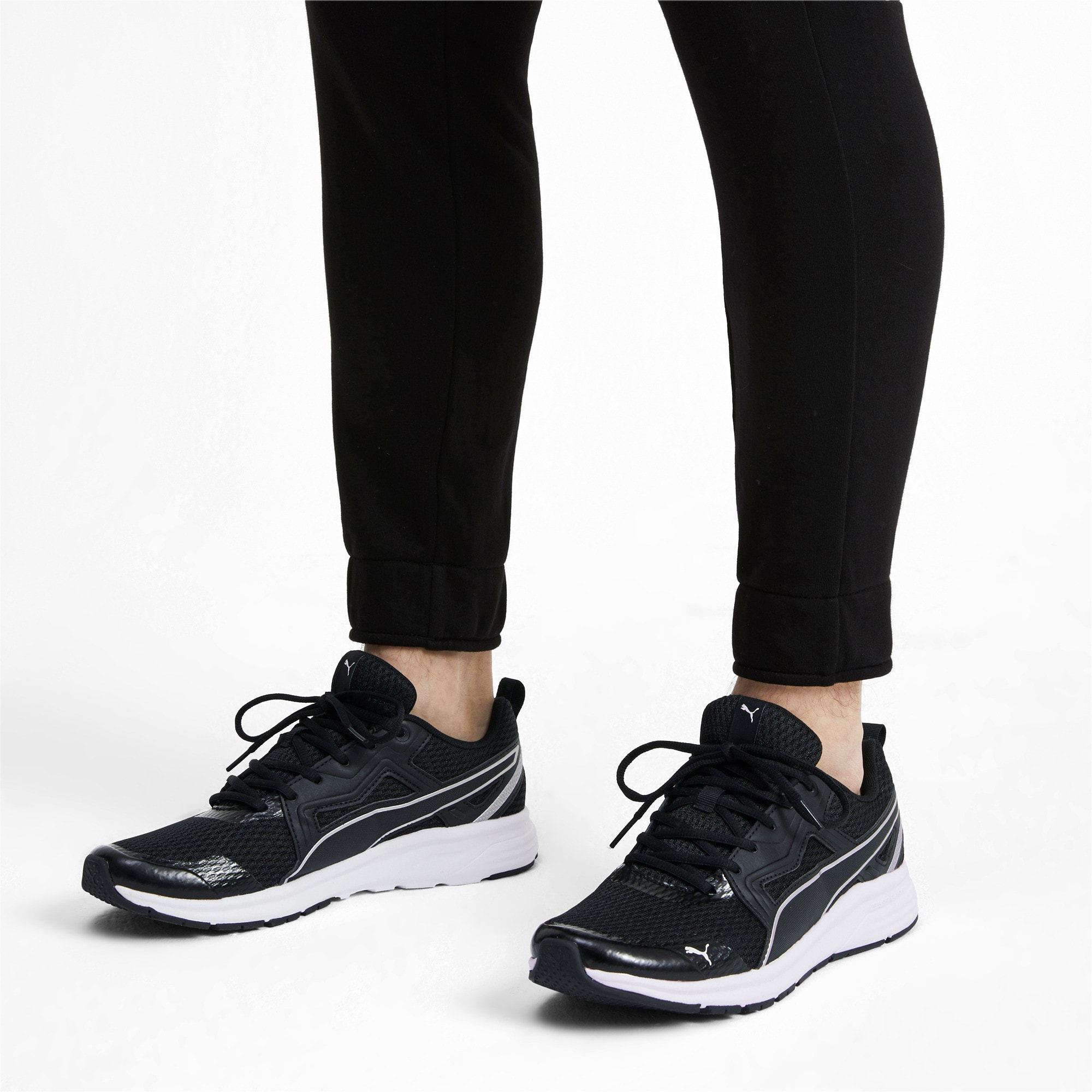 Thumbnail 2 of Pure Jogger Running Shoes, Black-Silver-White-Yellow, medium-IND