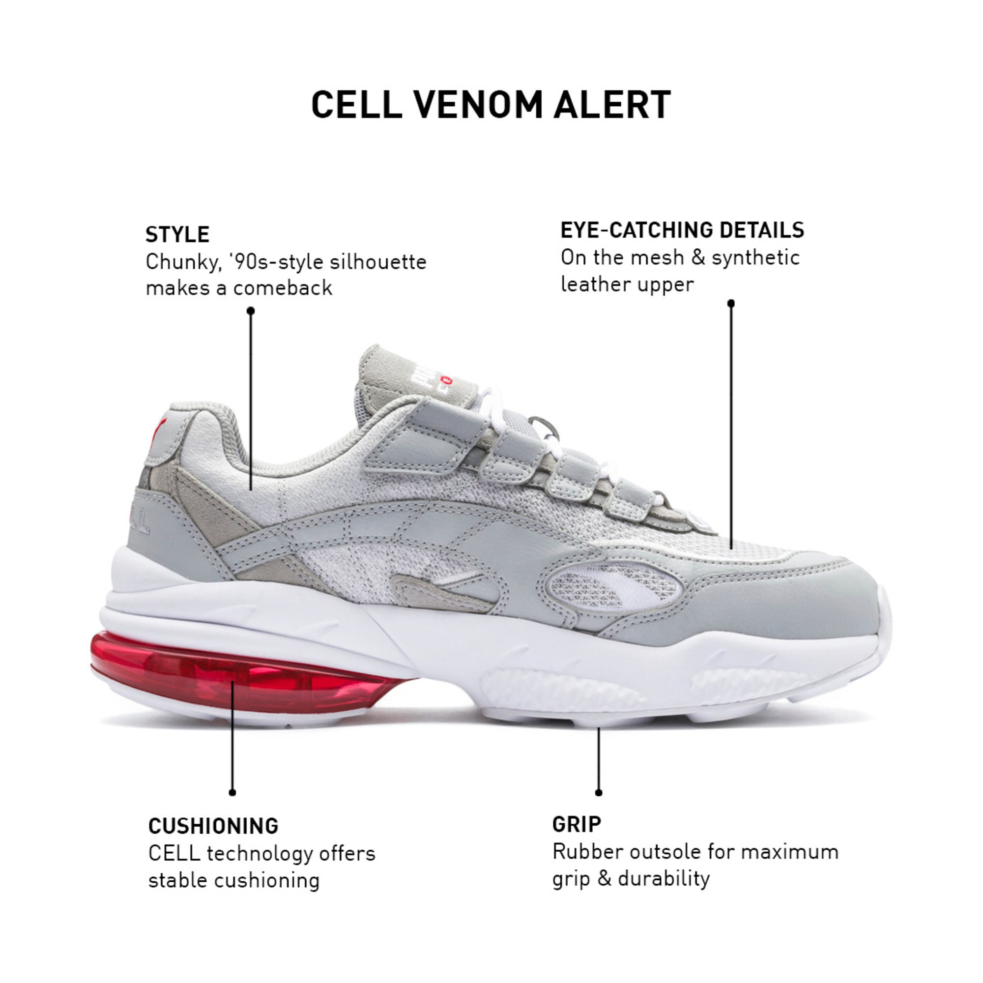 Thumbnail 9 of CELL Venom Alert Trainers, High Rise-Puma White, medium-IND