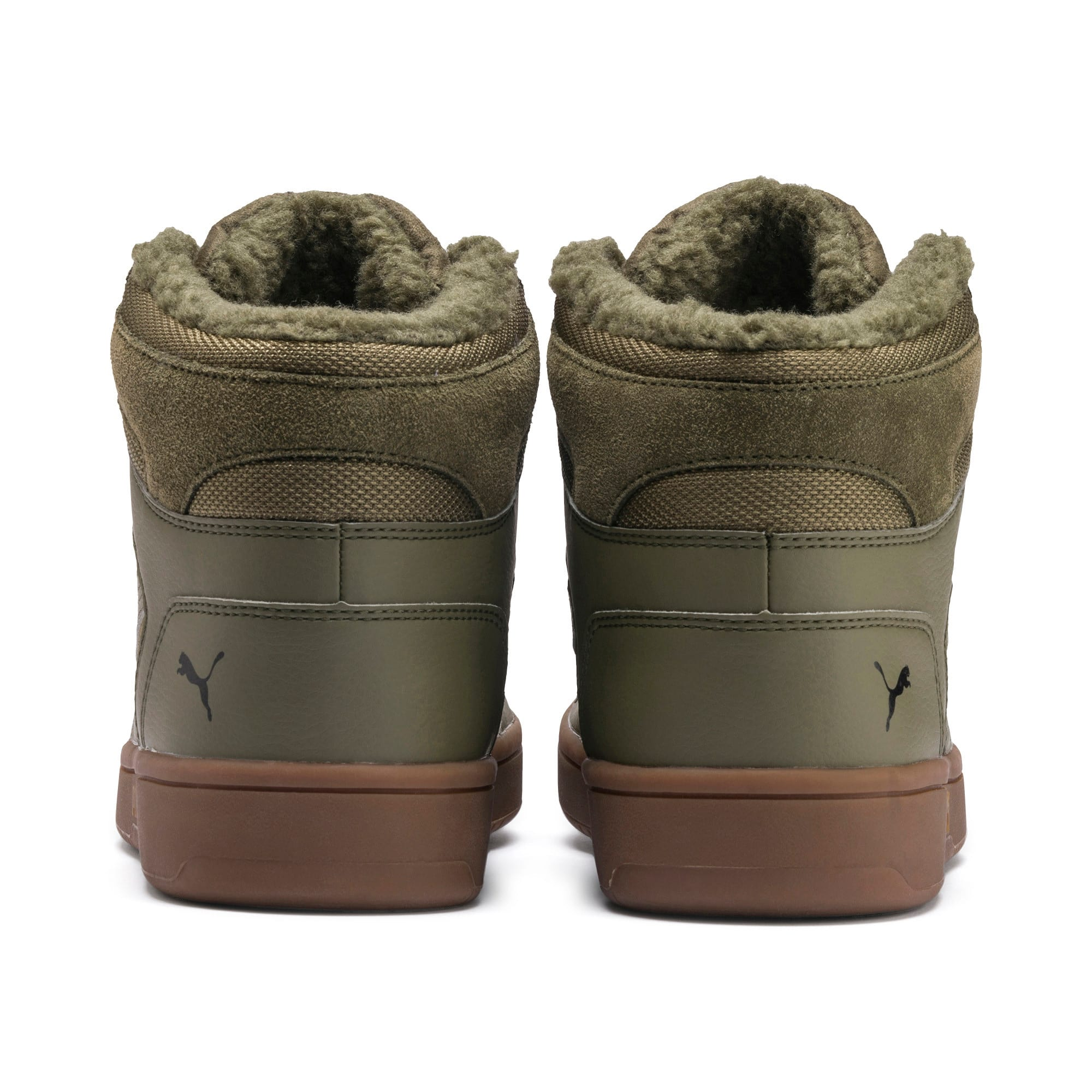 Rebound Lay Up SD Fur Trainers, Burnt Olive-Puma Black-Gum, large