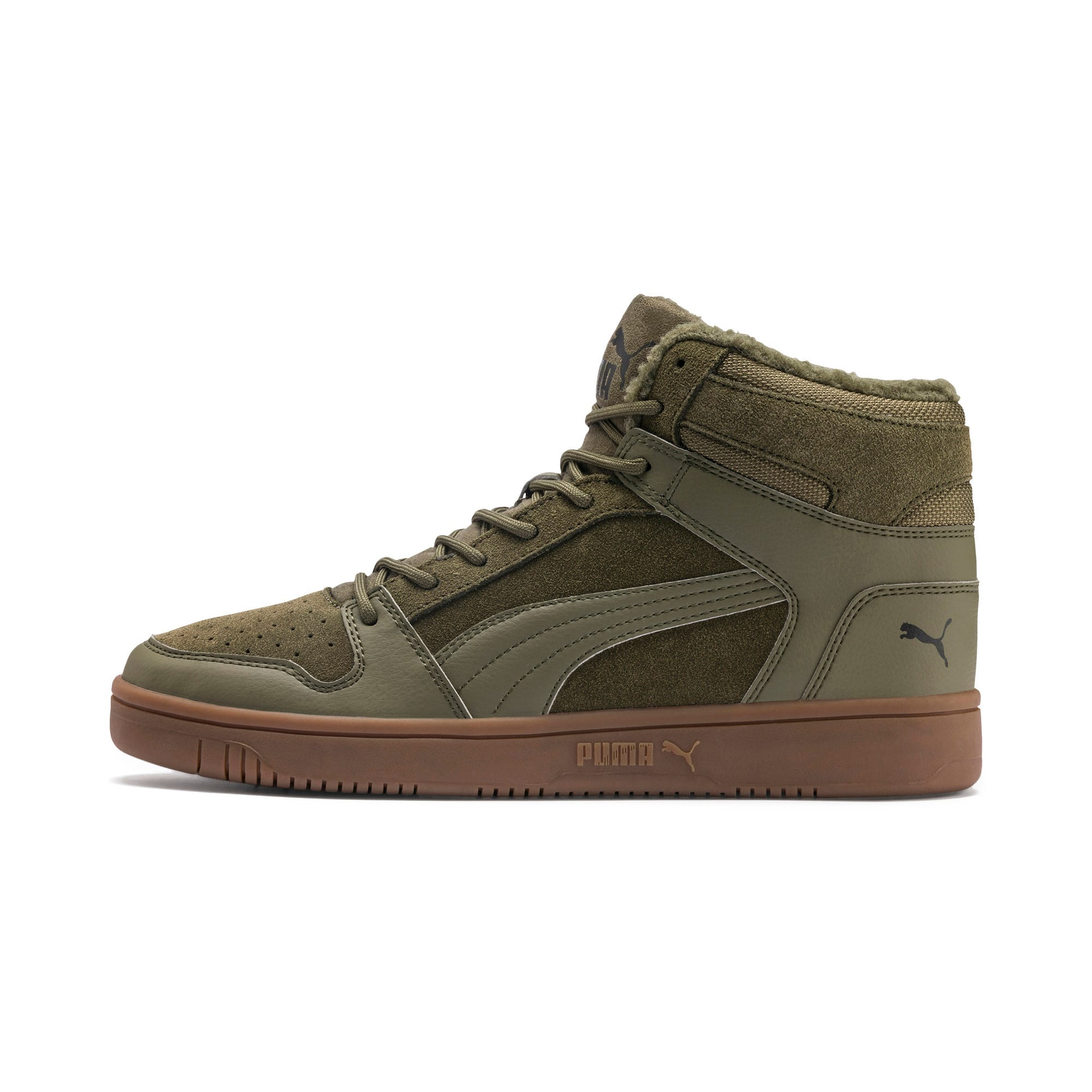 Thumbnail 1 of Rebound Lay Up SD Fur Sneaker, Burnt Olive-Puma Black-Gum, medium