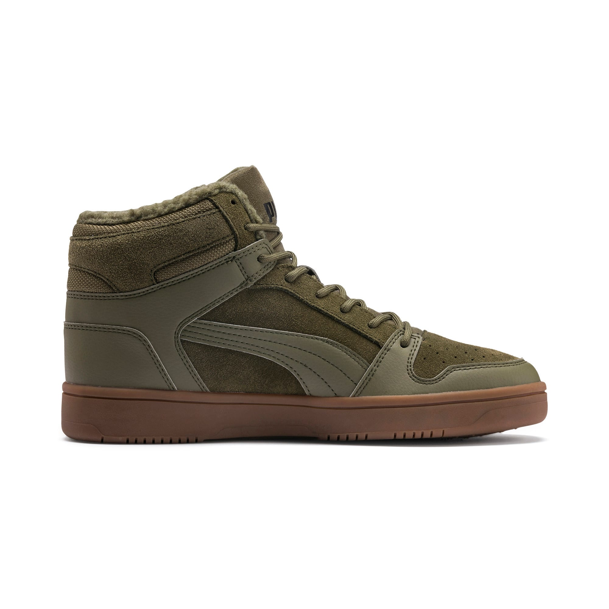 Thumbnail 6 of Rebound Lay Up SD Fur Sneaker, Burnt Olive-Puma Black-Gum, medium