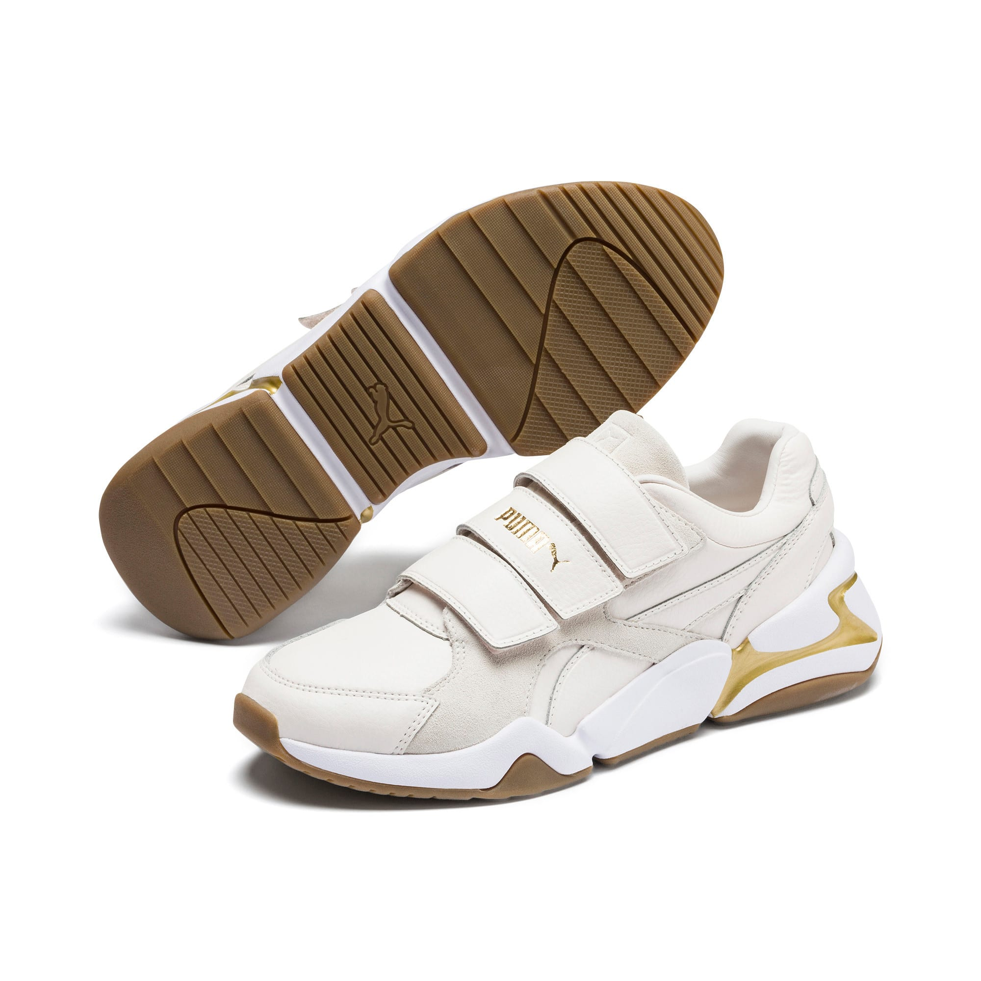 Thumbnail 3 of Nova V Leather Women's Trainers, Pastel Parchment-P.Team Gold, medium