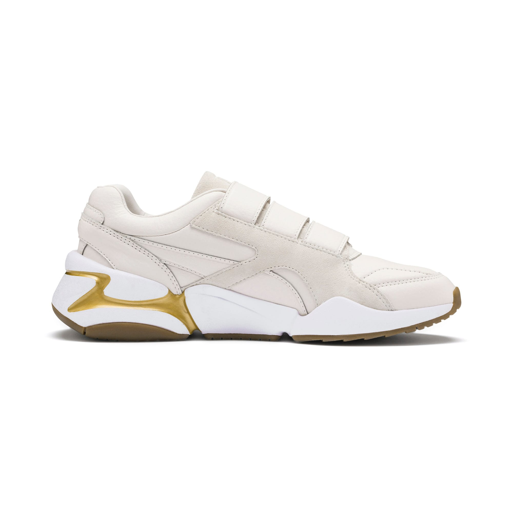 Thumbnail 6 of Nova V Leather Women's Trainers, Pastel Parchment-P.Team Gold, medium