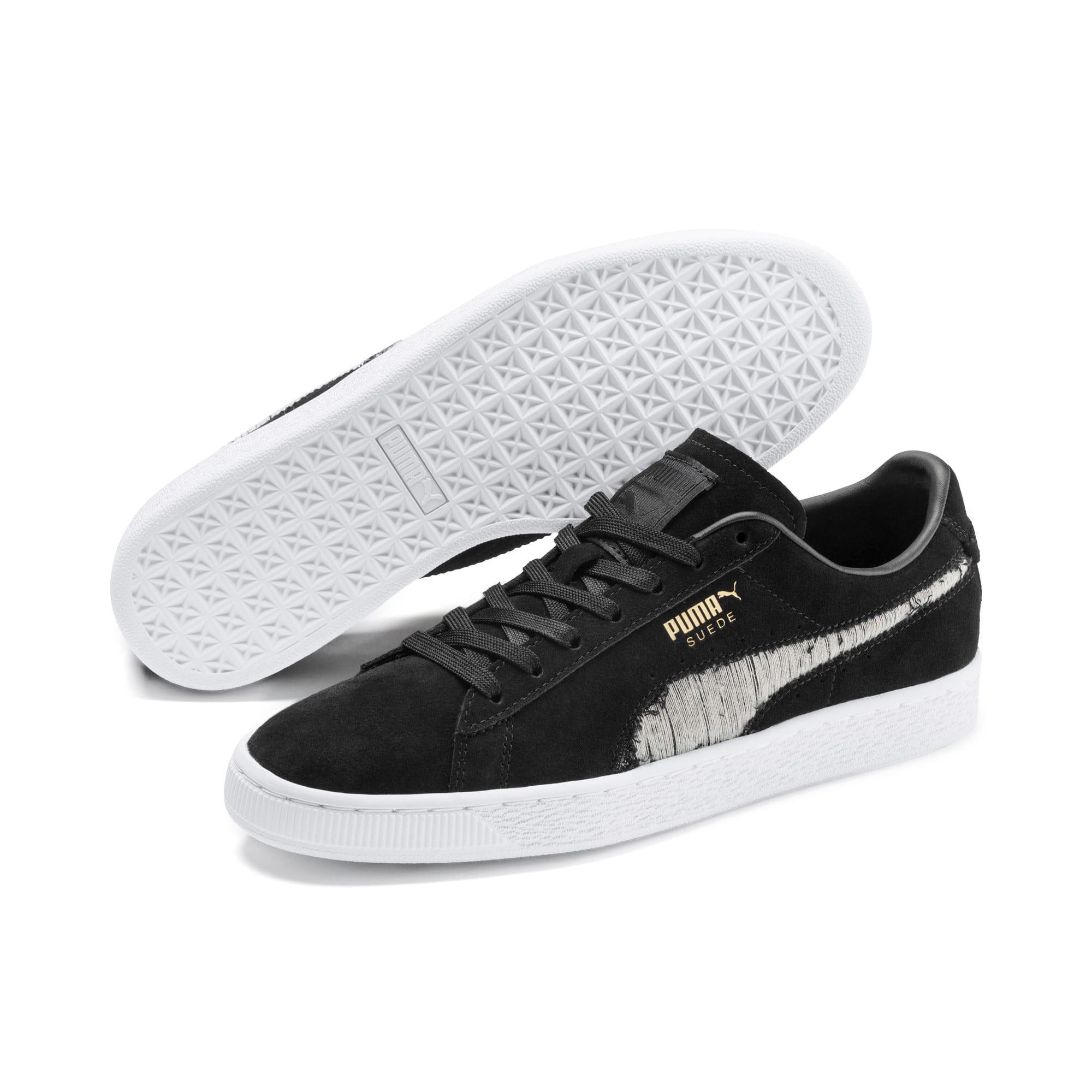 Thumbnail 2 of Suede Ripped Denim Sneakers, Puma Black-P Black-P White, medium