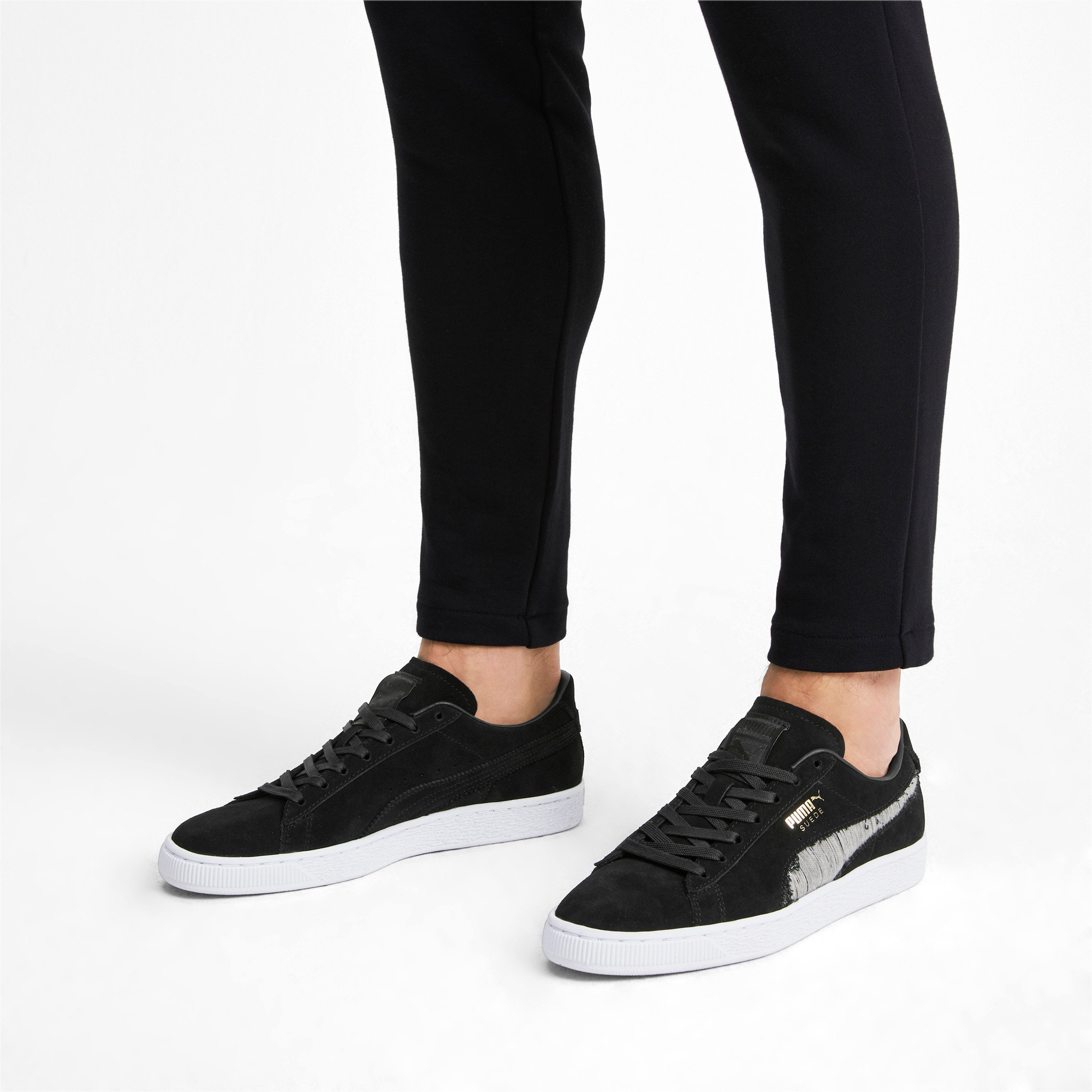 Thumbnail 3 of Suede Ripped Denim Sneakers, Puma Black-P Black-P White, medium