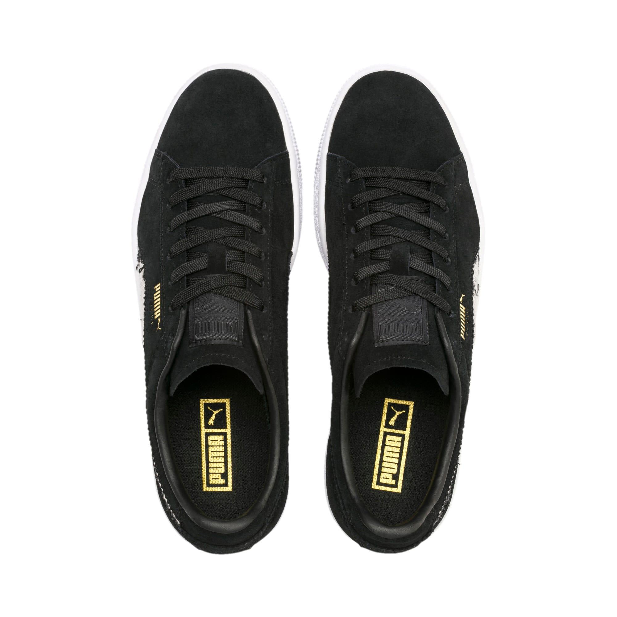 Thumbnail 7 of Suede Ripped Denim Sneakers, Puma Black-P Black-P White, medium