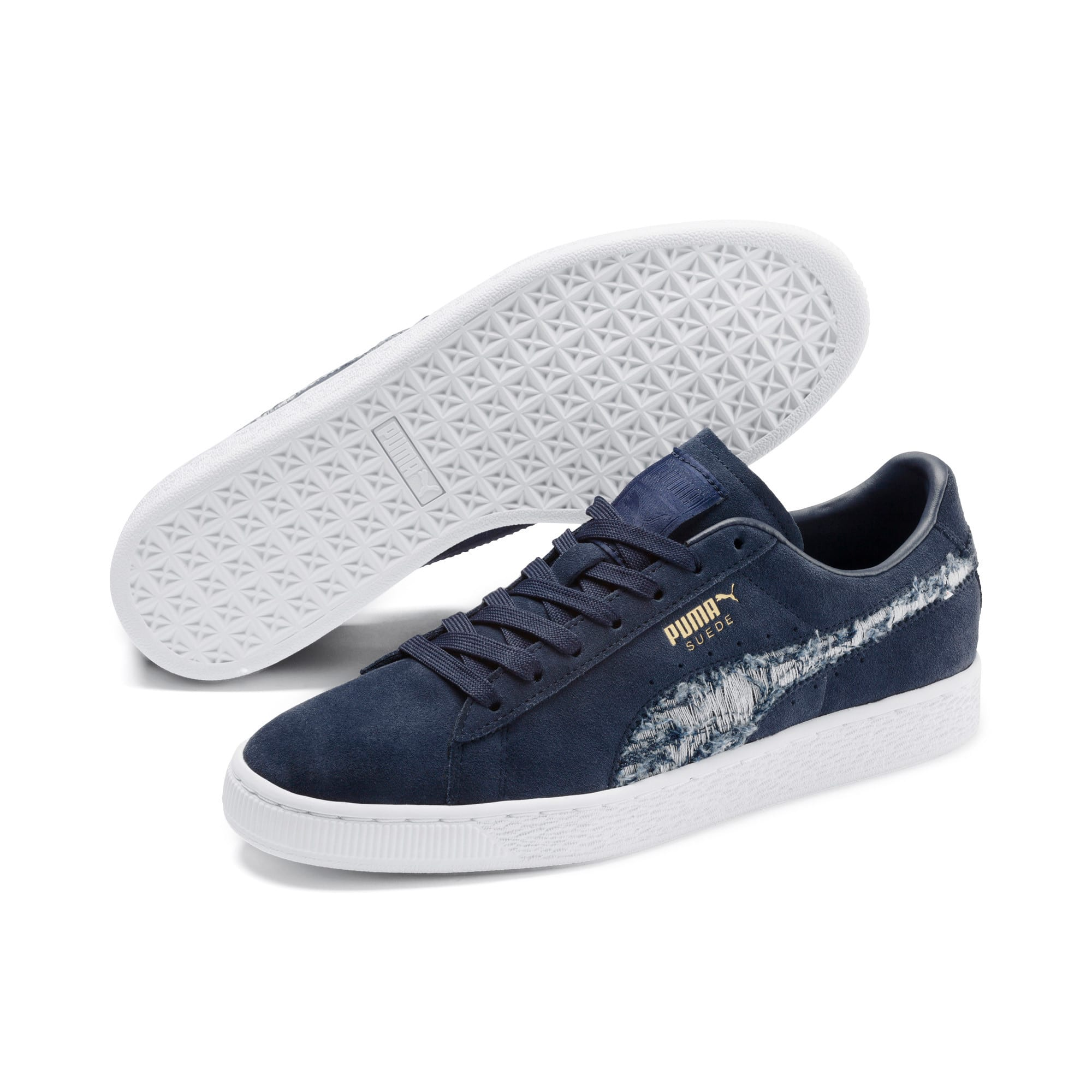 Thumbnail 2 of Suede Ripped Denim Sneakers, Peacoat-Peacoat-Puma White, medium