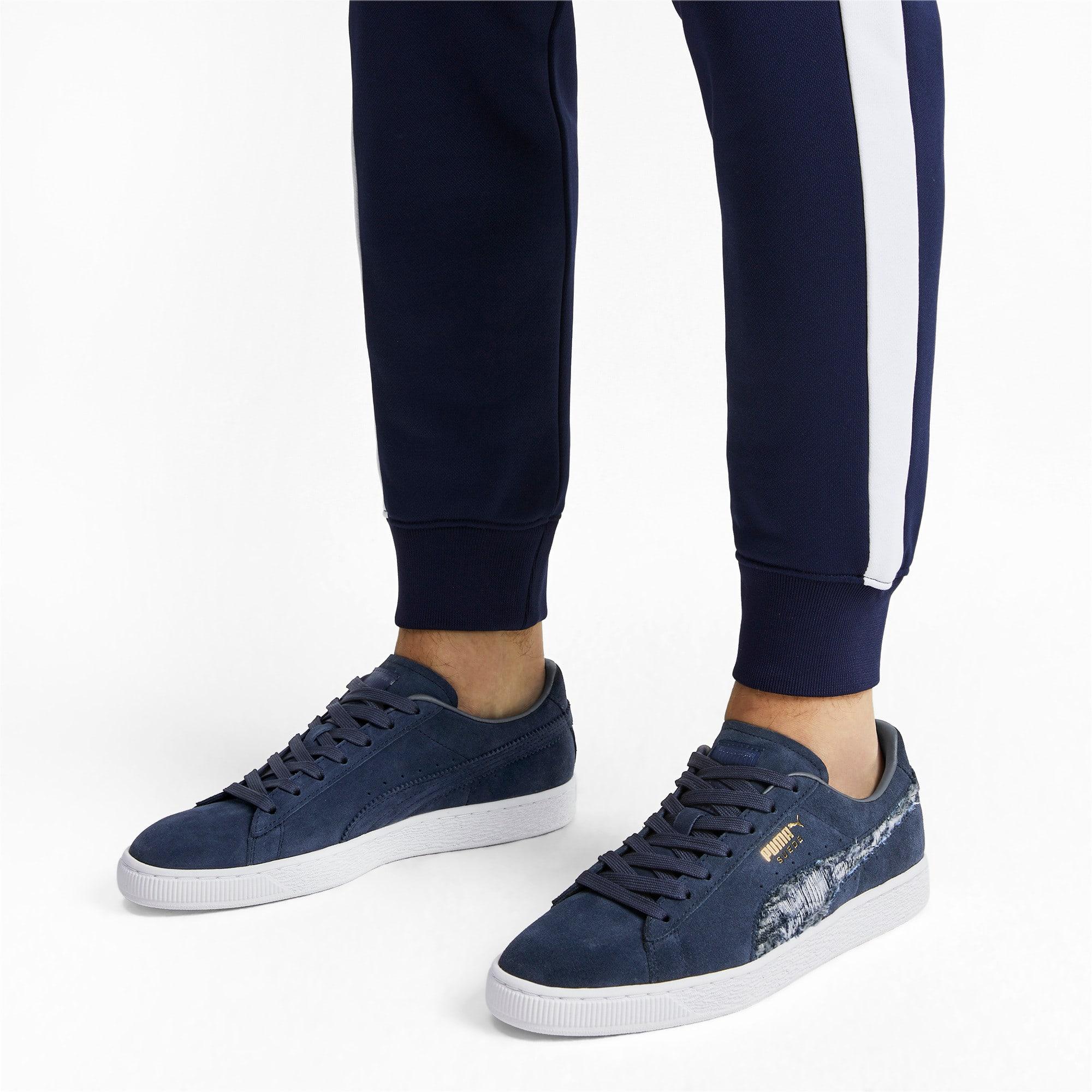 Thumbnail 3 of Suede Ripped Denim Sneakers, Peacoat-Peacoat-Puma White, medium