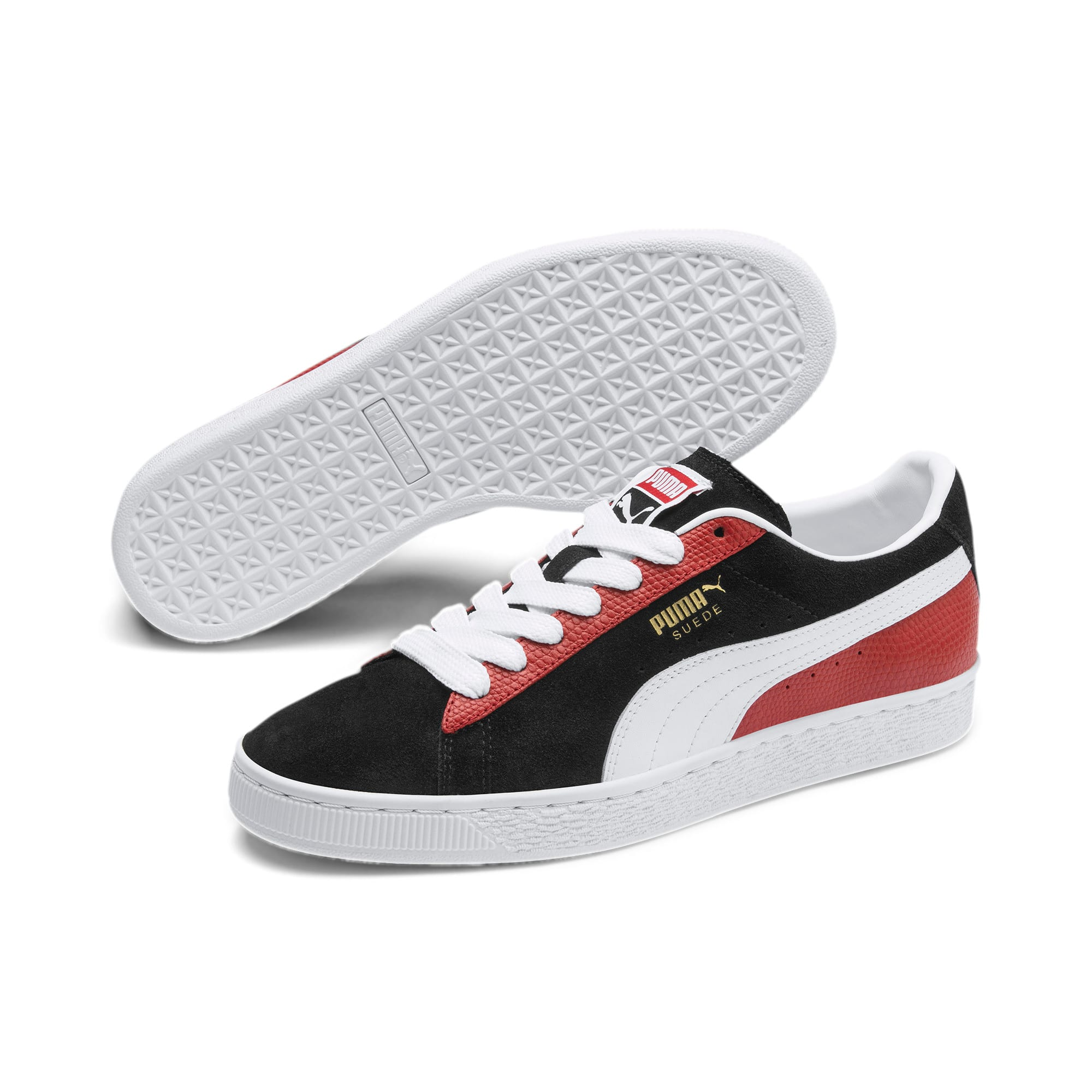 Thumbnail 2 of Suede Classic Block Sneakers, Black-High Risk Red-White, medium