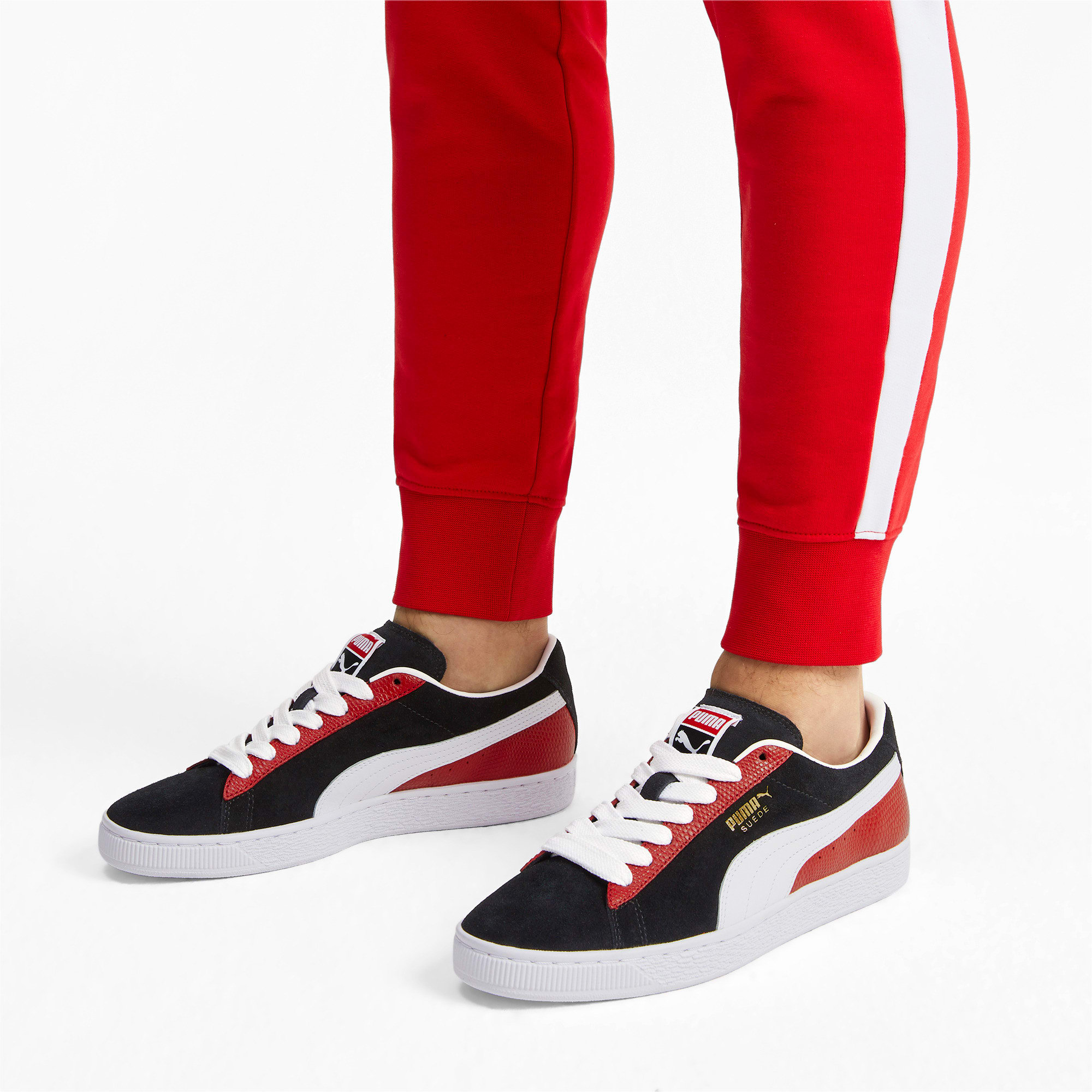 Thumbnail 3 of Suede Classic Block Sneakers, Black-High Risk Red-White, medium