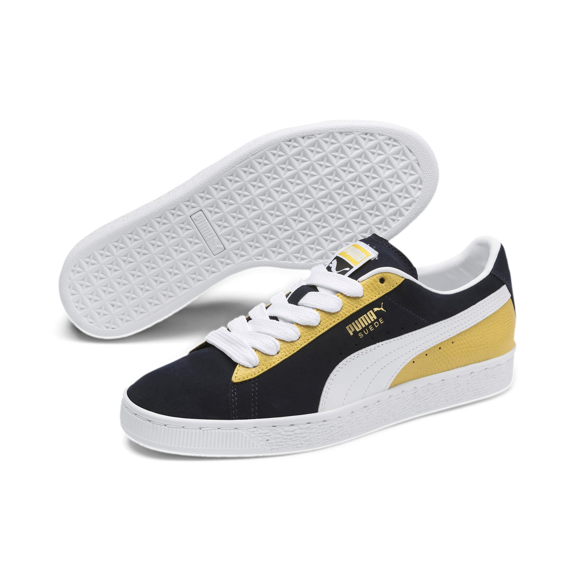 Thumbnail 2 of Suede Classic Block Sneakers, Peacoat-Sulphur-Puma White, medium