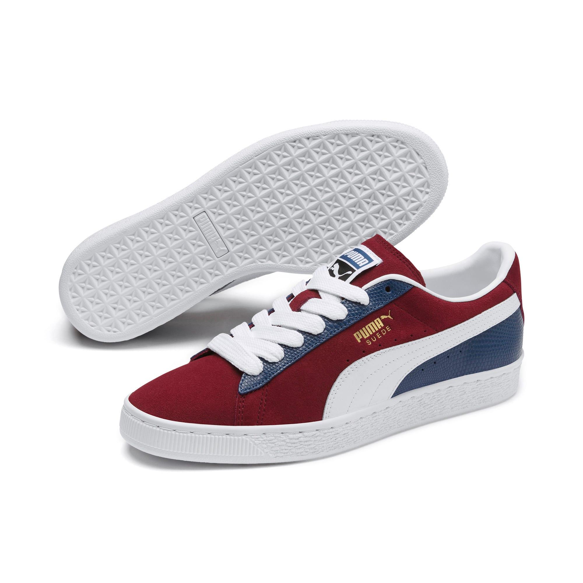 Thumbnail 2 of Suede Classic Block Sneakers, Rhubarb- Blue-White, medium