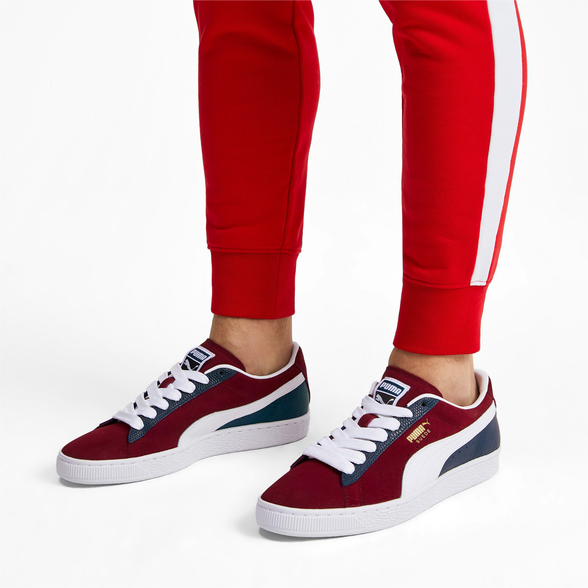 Thumbnail 3 of Suede Classic Block Sneakers, Rhubarb- Blue-White, medium