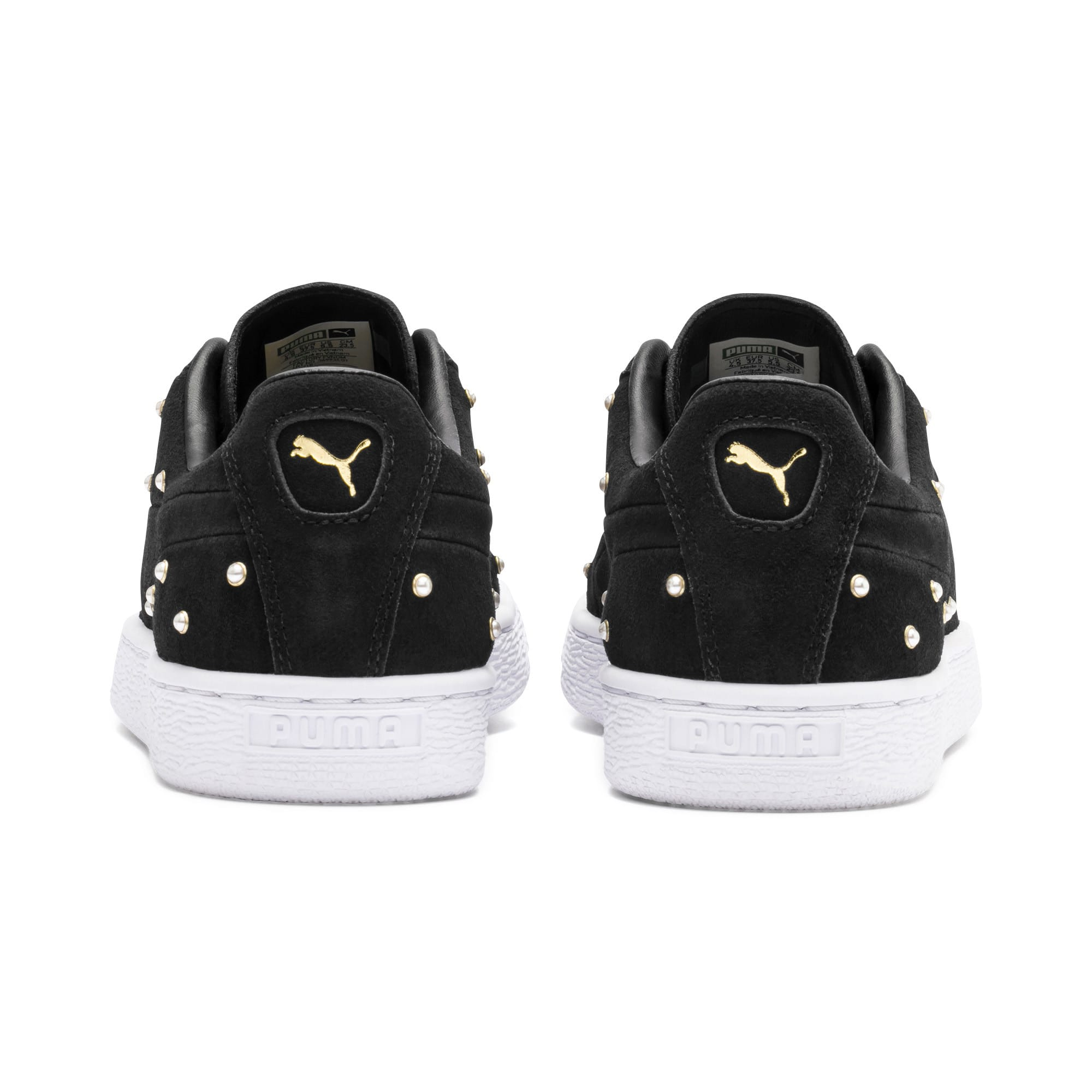 Thumbnail 4 of Suede Pearl Studs Women's Sneakers, Puma Black-Puma Team Gold, medium