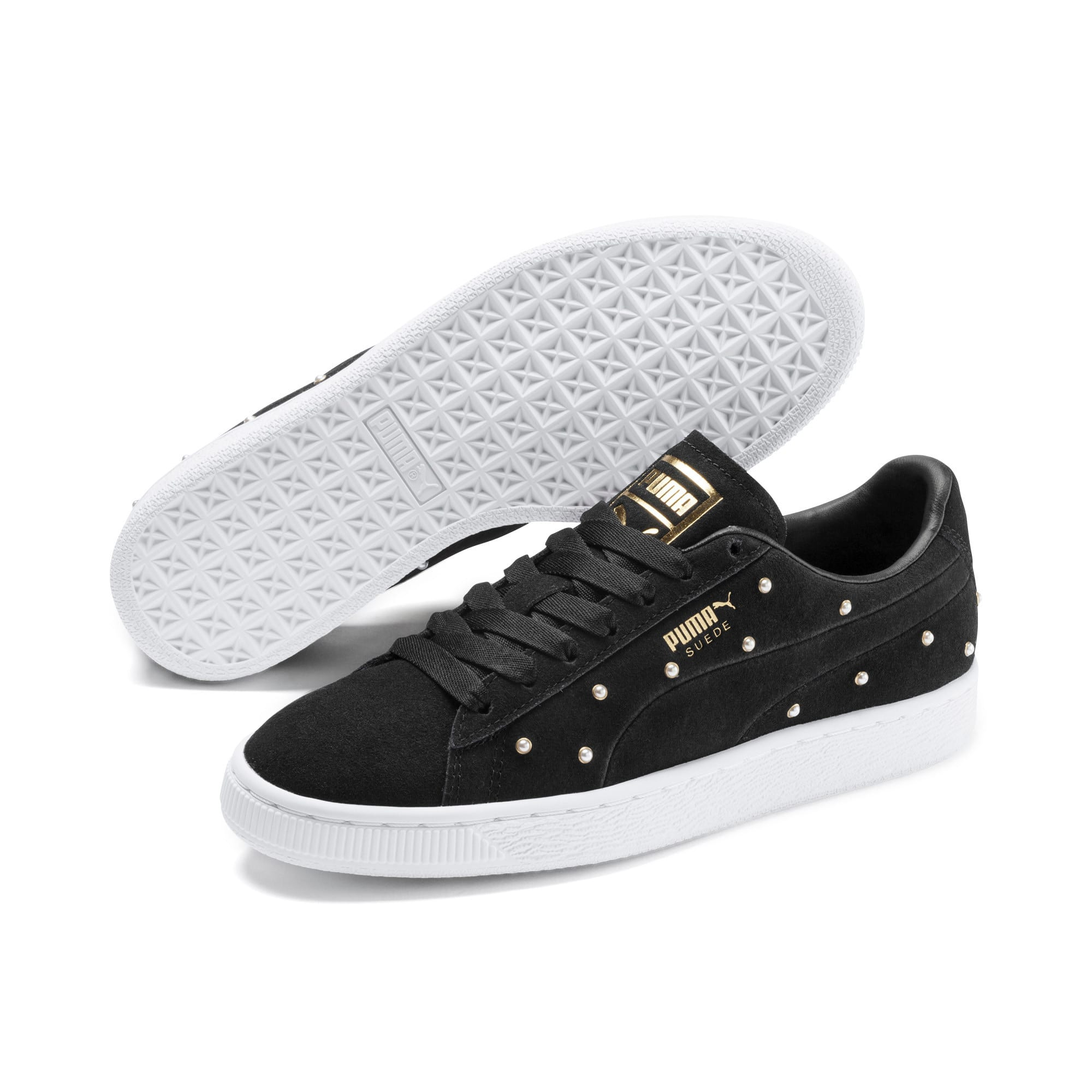 Thumbnail 3 of Suede Pearl Studs Women's Sneakers, Puma Black-Puma Team Gold, medium