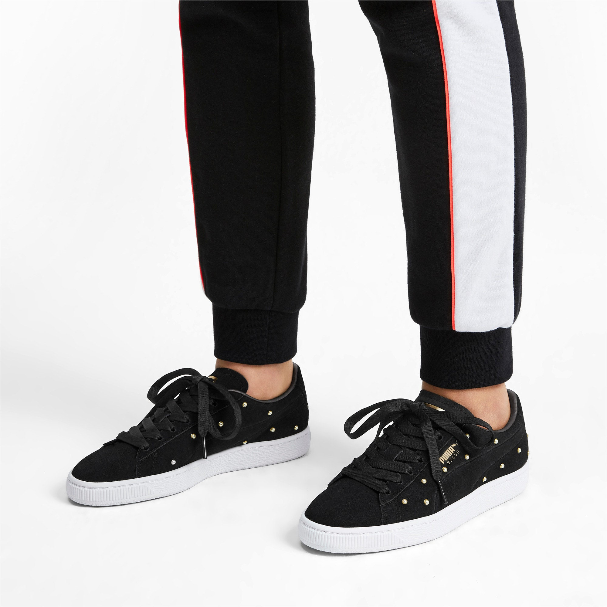 Thumbnail 2 of Suede Pearl Studs Women's Sneakers, Puma Black-Puma Team Gold, medium