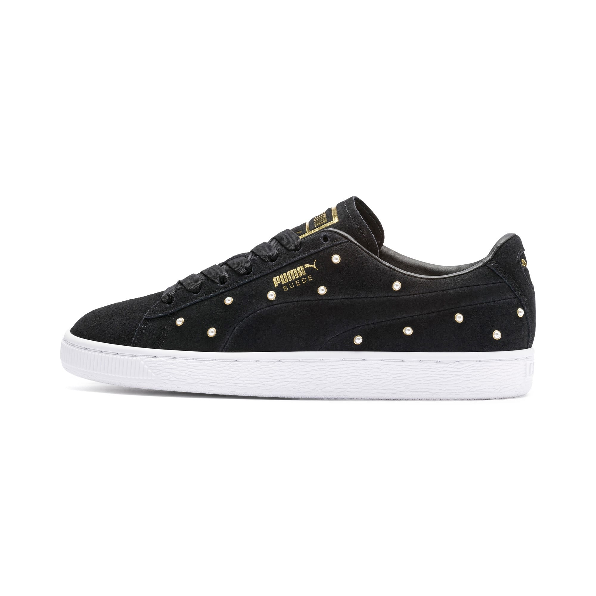 Thumbnail 1 of Suede Pearl Studs Women's Sneakers, Puma Black-Puma Team Gold, medium