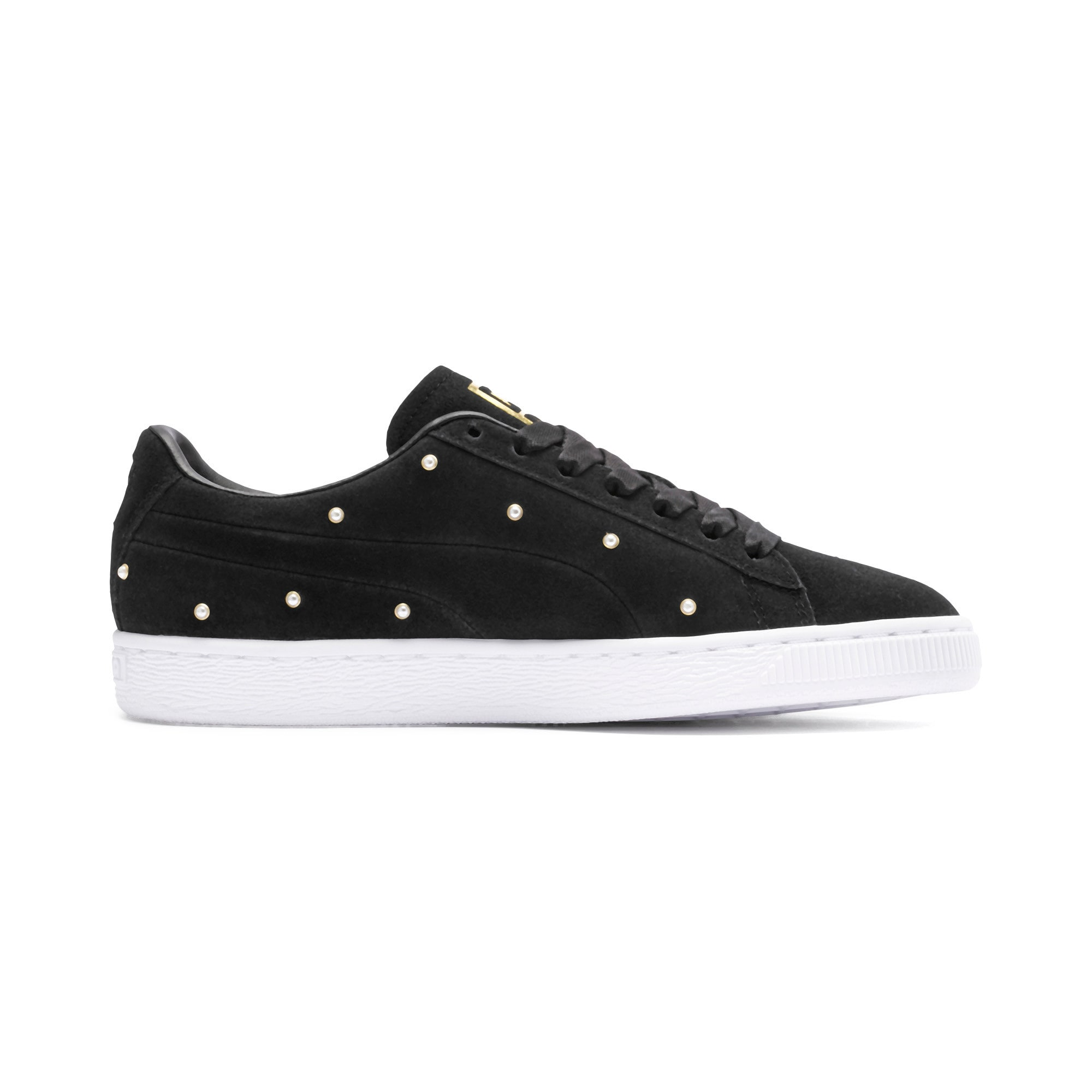 Thumbnail 6 of Suede Pearl Studs Women's Sneakers, Puma Black-Puma Team Gold, medium