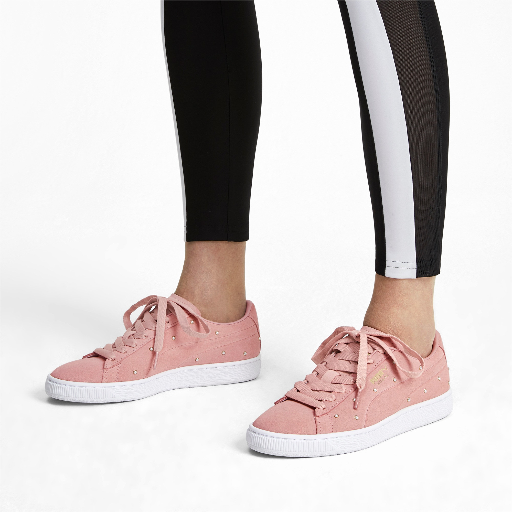 Suede Pearl Studs Women's Sneakers, Bridal Rose-Puma Team Gold, large