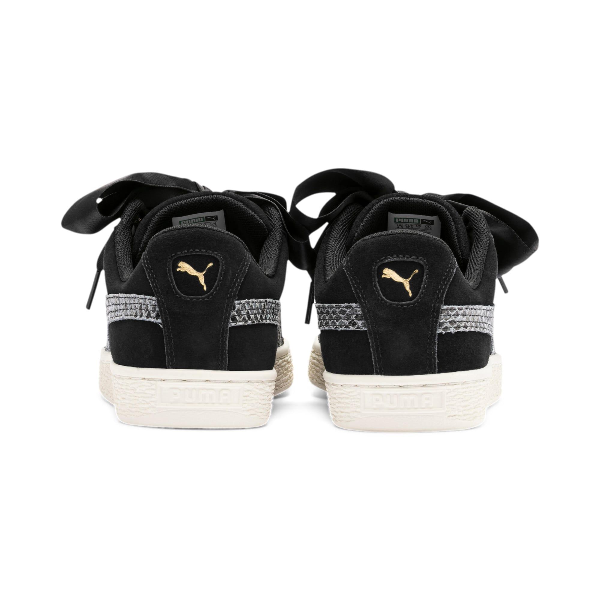 Thumbnail 4 of Suede Heart Snake Lux Women's Sneakers, Puma Black-Puma Team Gold, medium