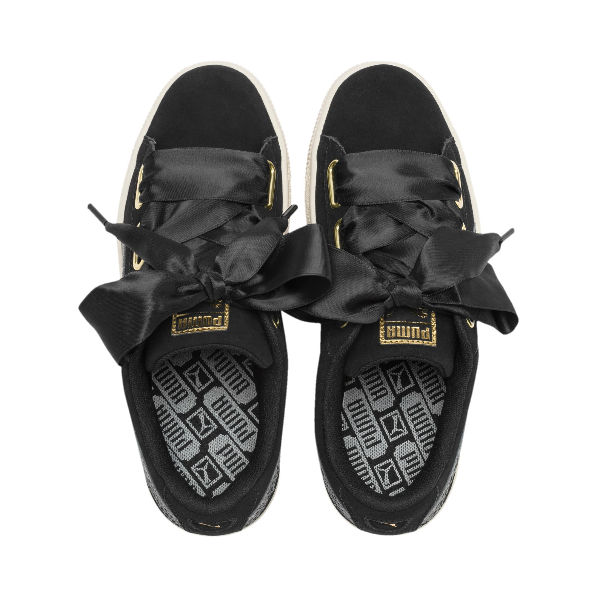 Thumbnail 4 of Suede Heart Snake Lux Women's Trainers, Puma Black-Puma Team Gold, medium-IND