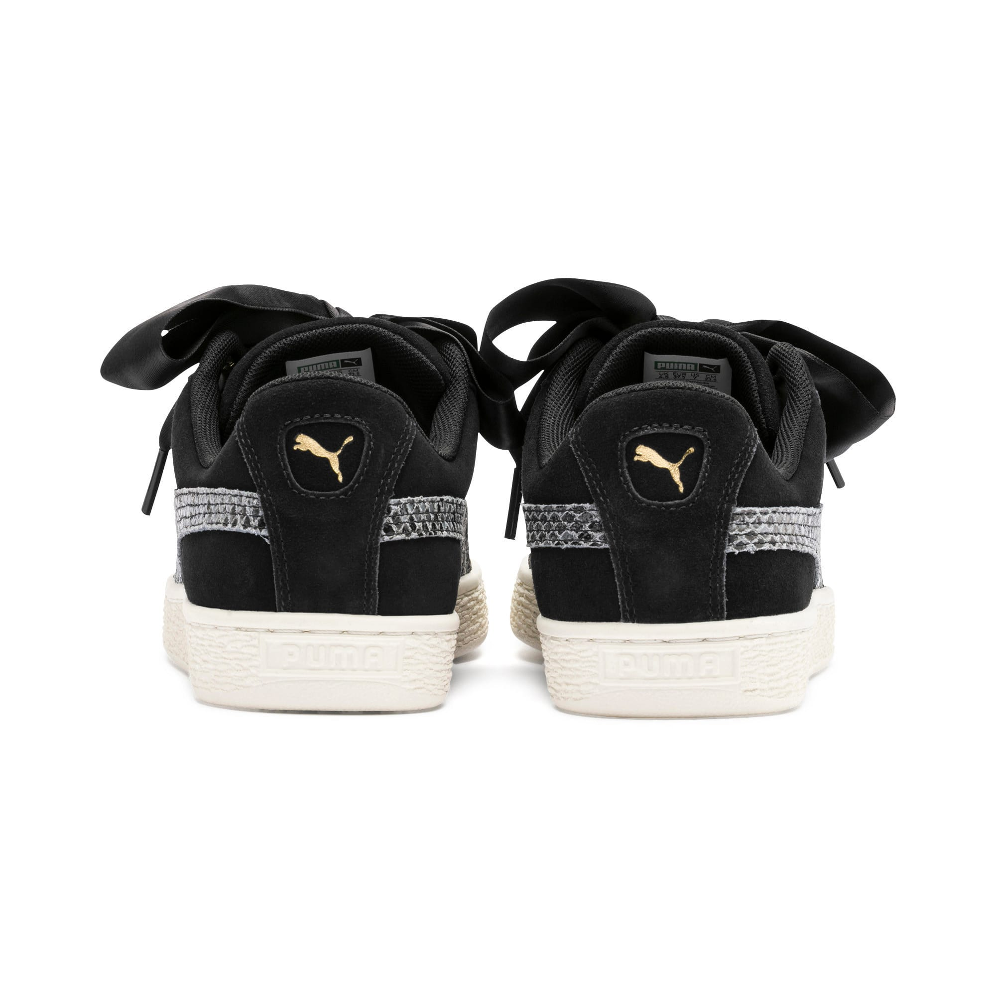 Thumbnail 6 of Suede Heart Snake Lux Women's Trainers, Puma Black-Puma Team Gold, medium-IND